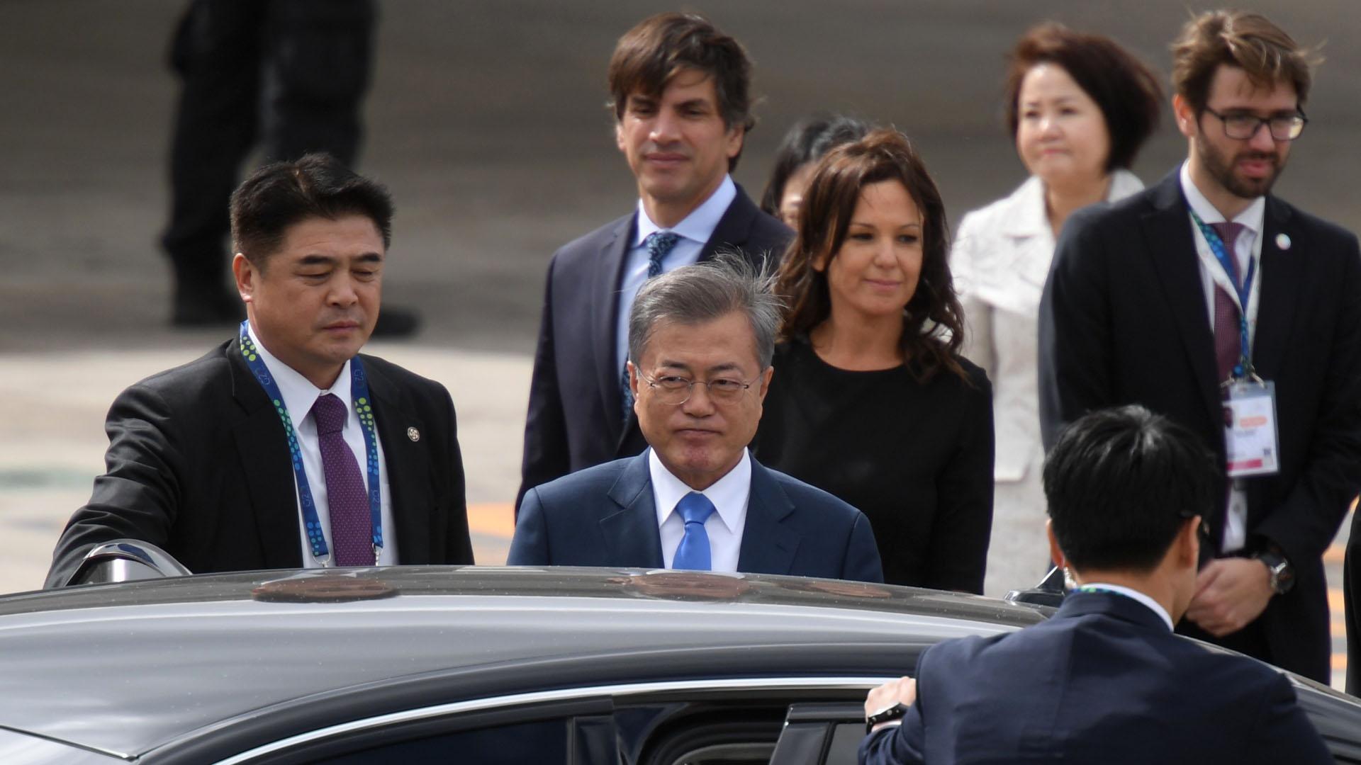 El presidente de Corea del Sur Moon Jae-in fue recibido por la ministra de Desarrollo Social Carolina Stanley