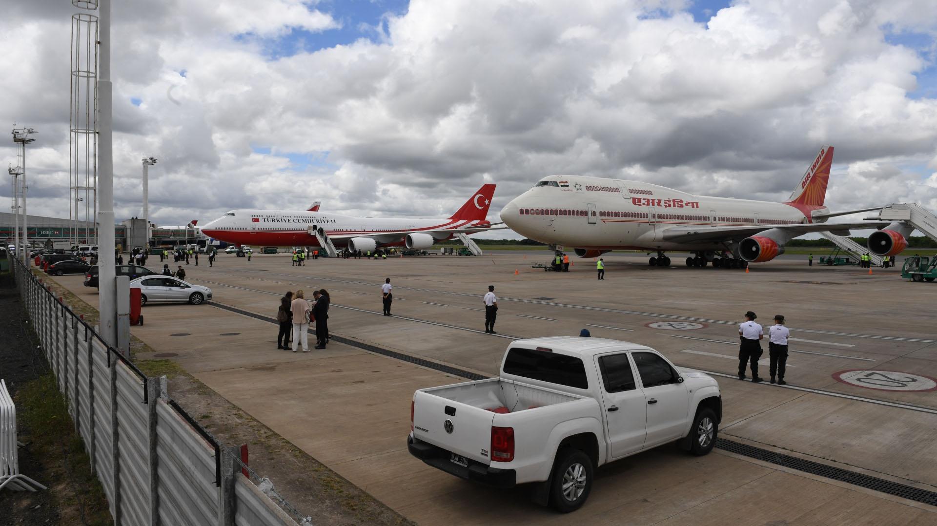 Los Boeing 747 del gobierno de Turquía y de la India en Ezeiza
