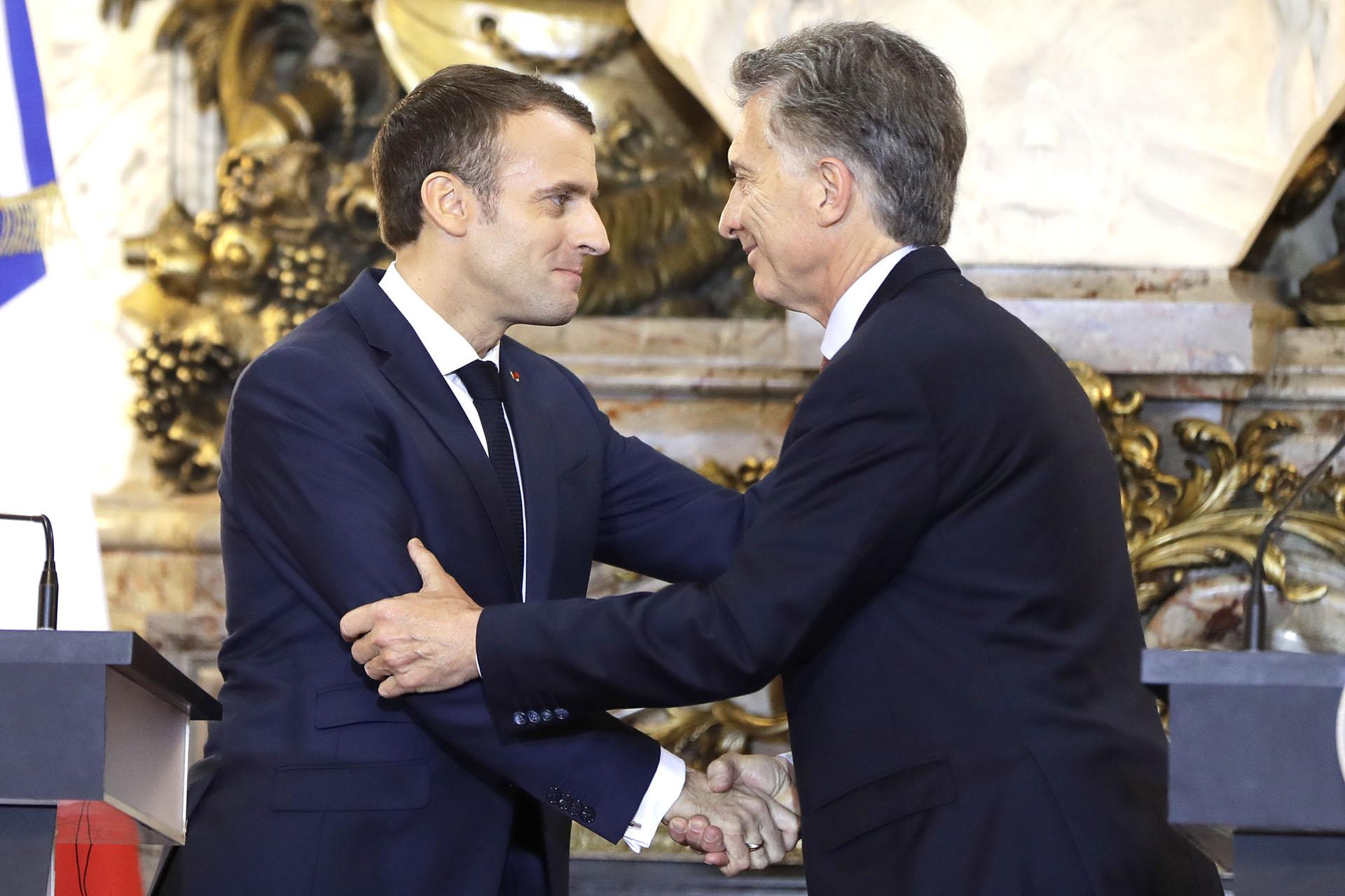 En su primera reunión bilateral, Emmanuel Macron respaldó el ingresó de la Argentina a la OCDE pero puso paños fríos a un posible acuerdo UE-Mercosur