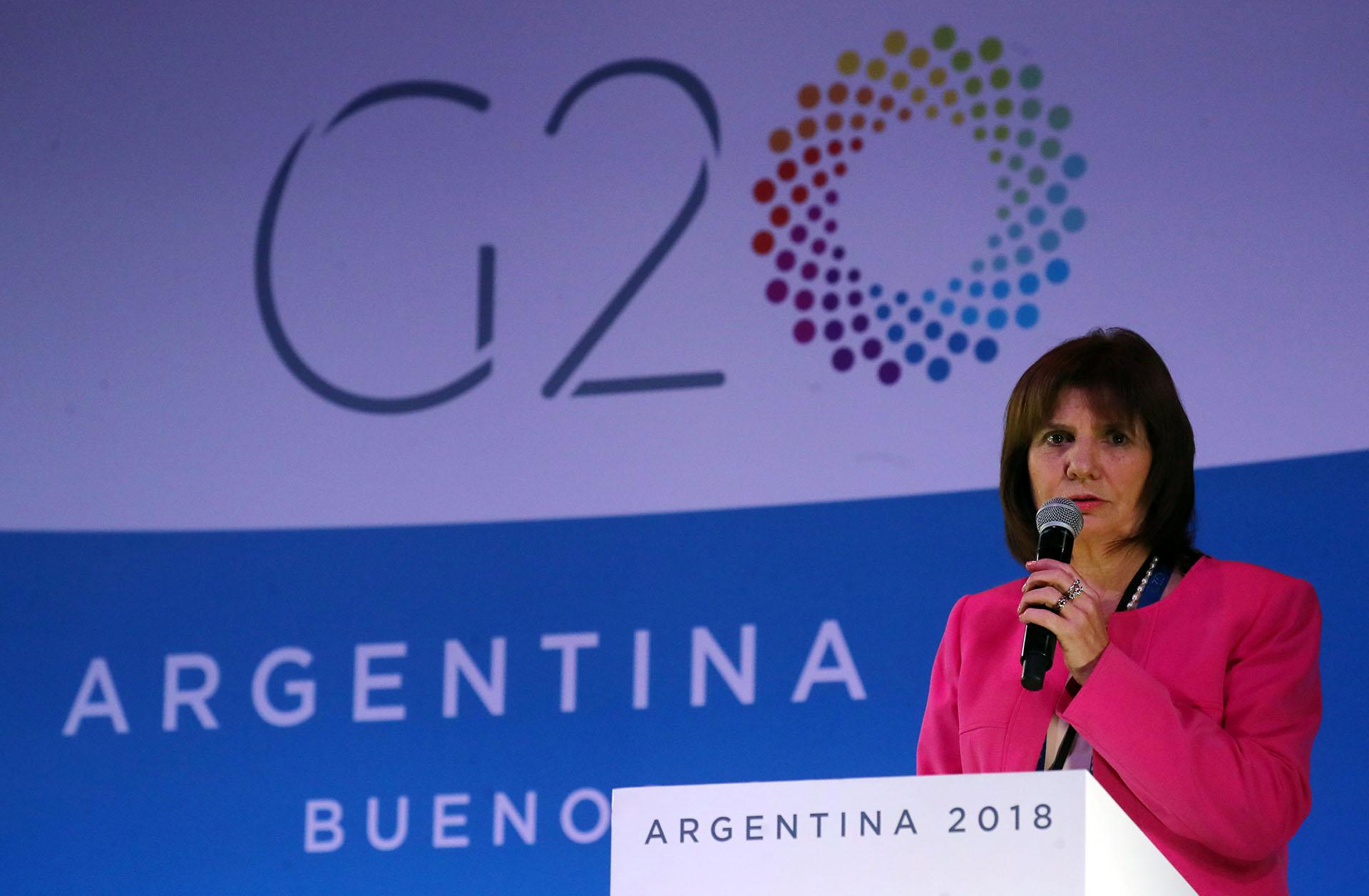 La ministra de Seguridad Patricia Bullrich en una conferencia de prensa en el Media Center (Reuters)