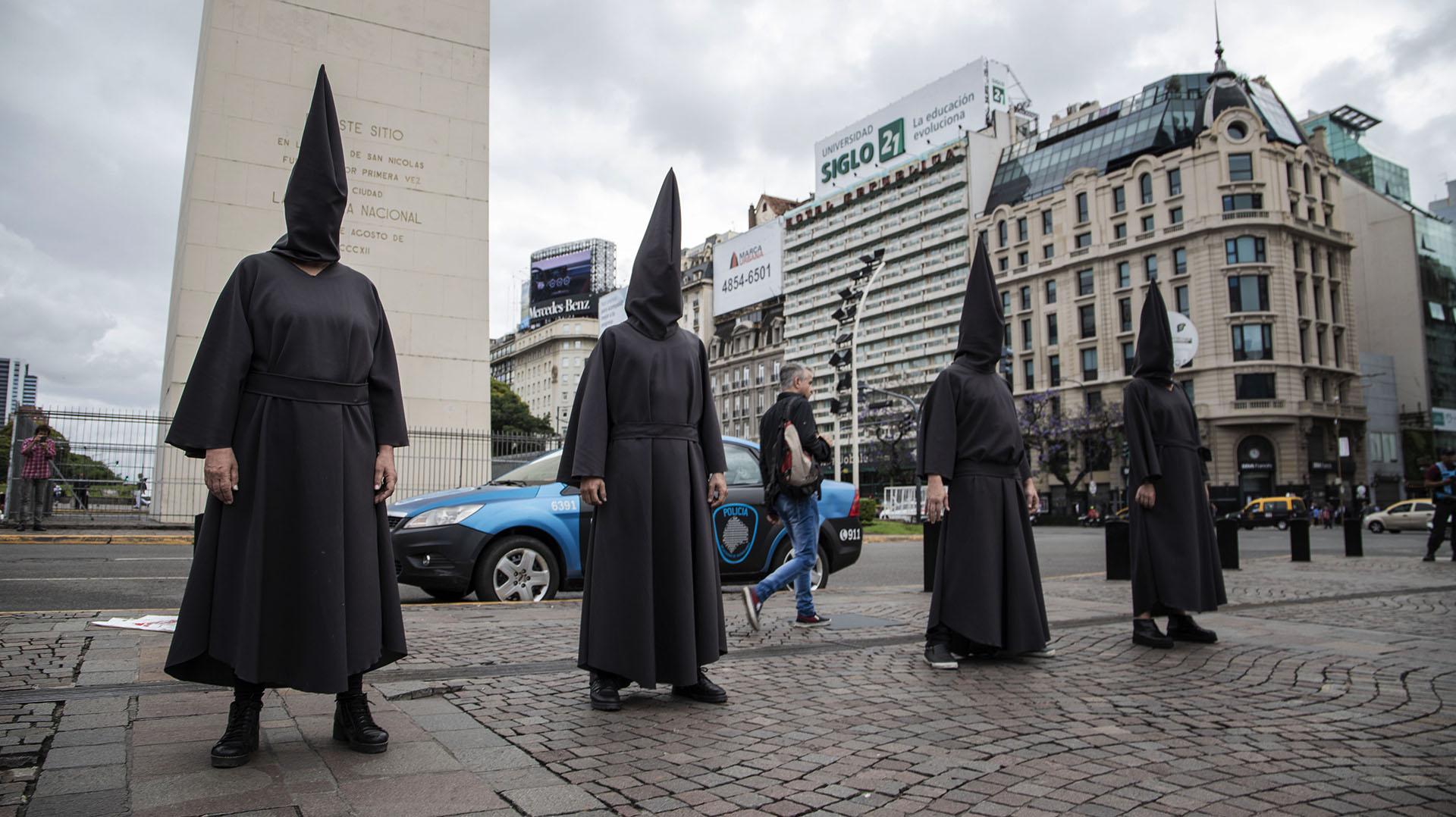 Una protesta frente al Obelisco