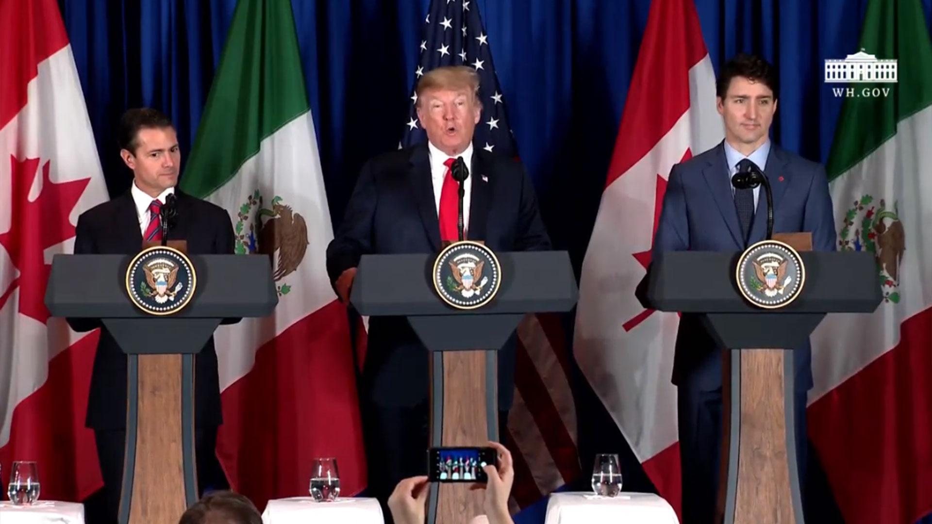 """Trump calls the signing of the new trade agreement """"an historic occasion."""" And despite disputes between them, says Pena Nieto and Trudeau have become his """"great friends."""""""