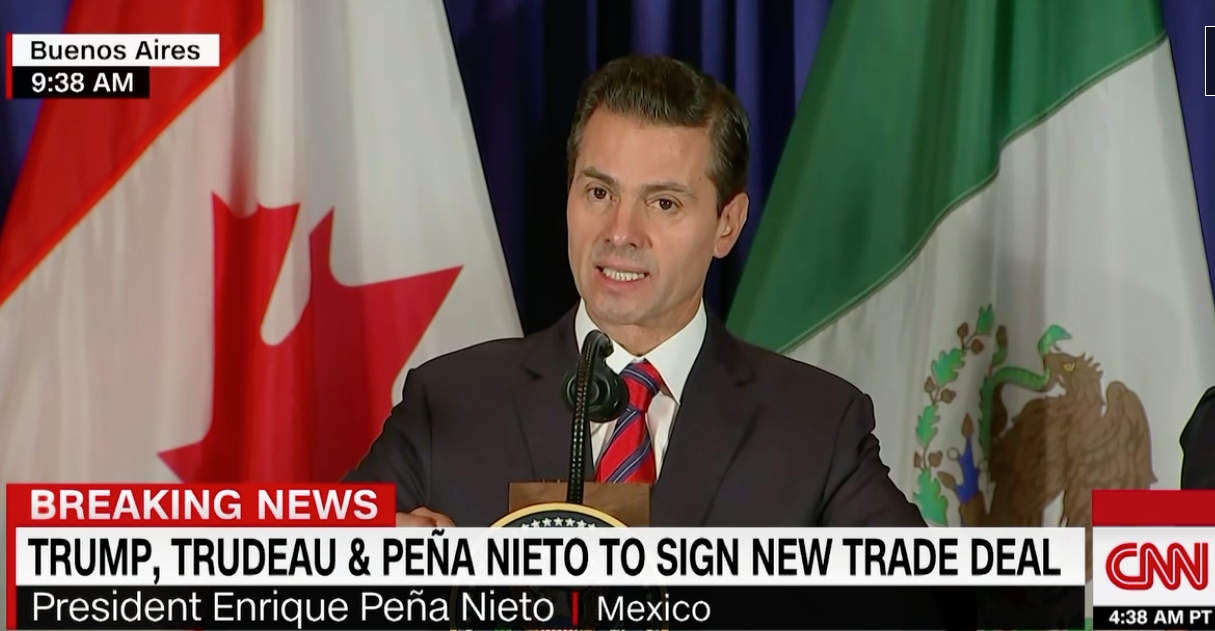 Peña Nieto says the new trade agreement reaffirms the importance of economic integration in North America.