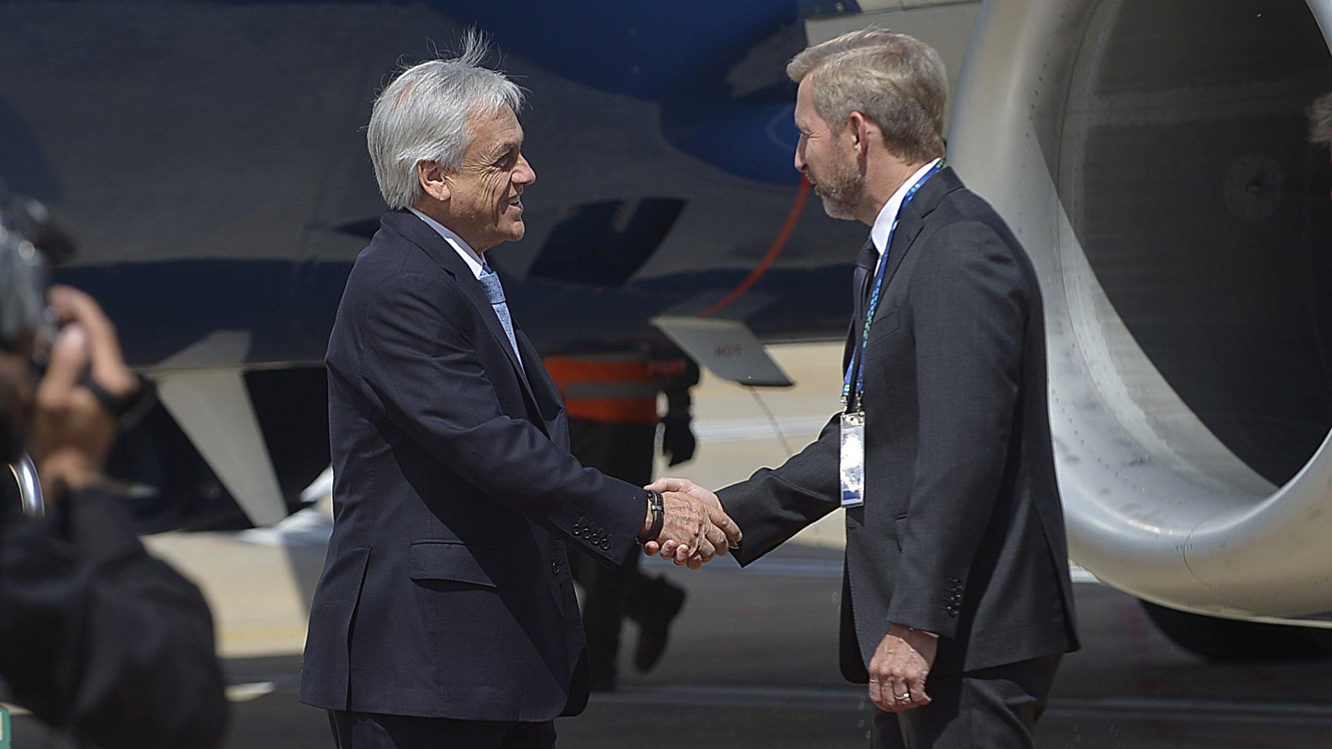 El presidente de Chile Sebastián Piñera fue recibido por el ministro del Interior Rogelio Frigerio(Manuel Cortina)