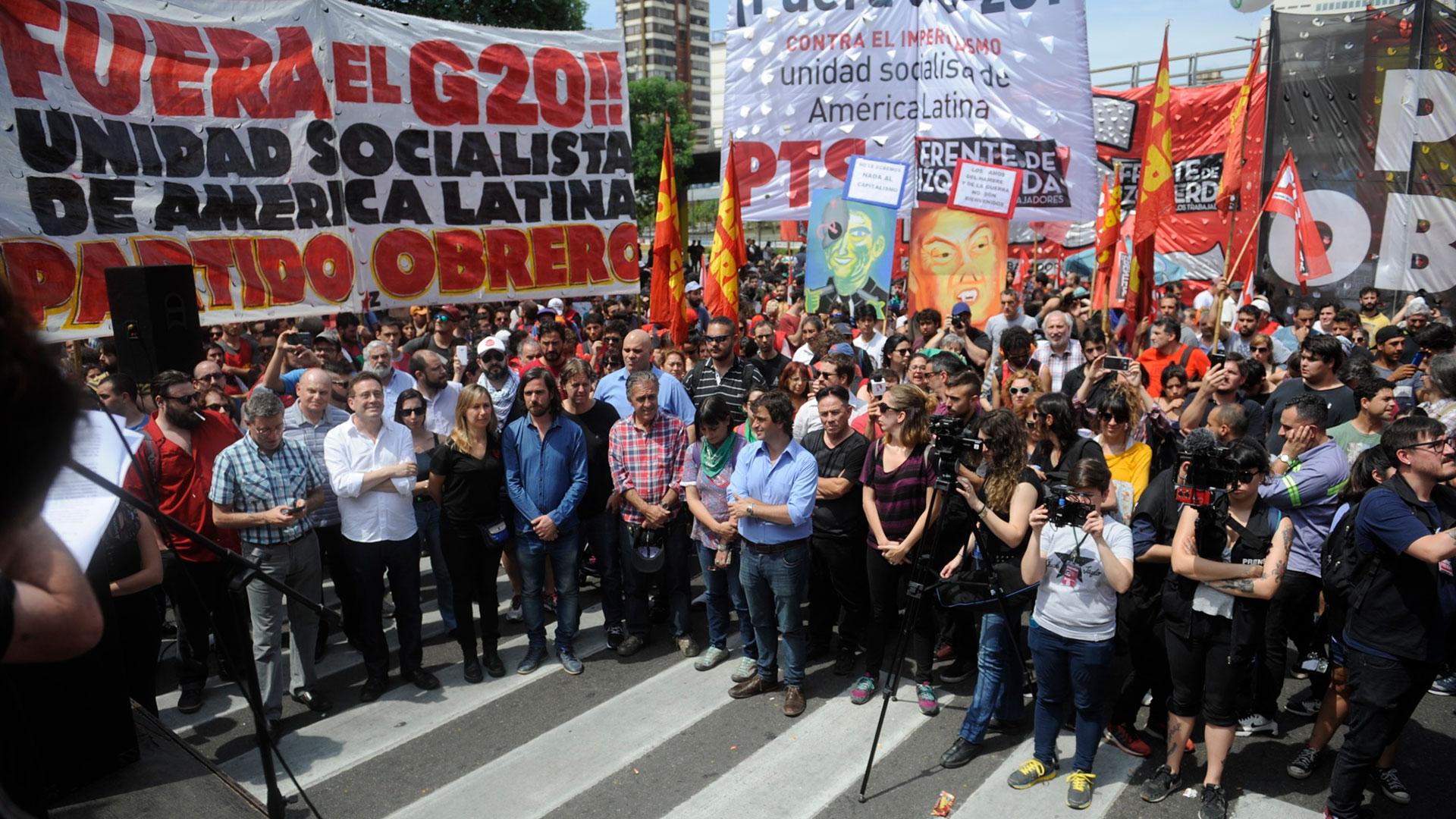 Los principales dirigentes de la izquierda brindaron un discurso crítico contra la cumbre del G20