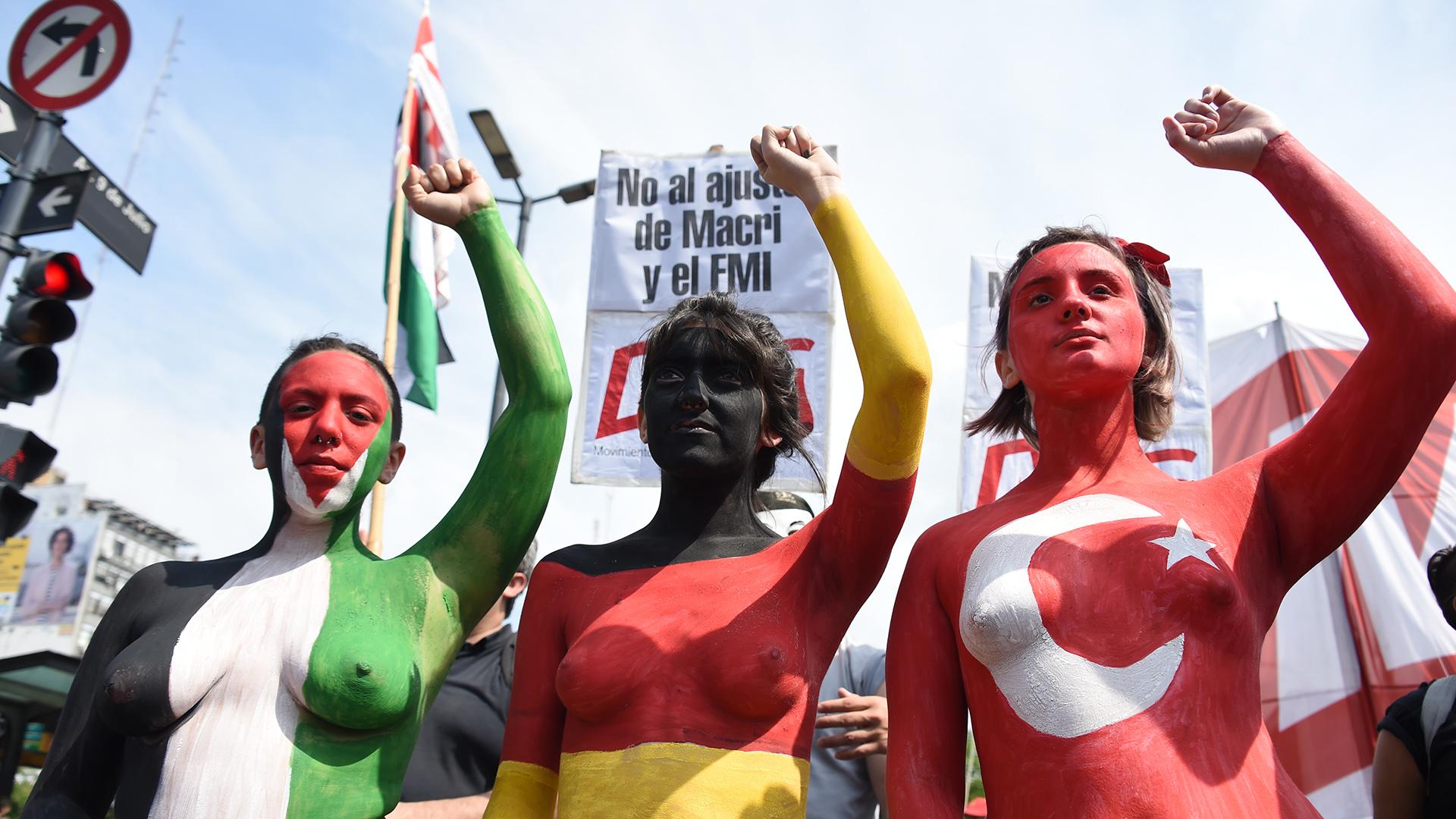 Manifestantes en contra del G20