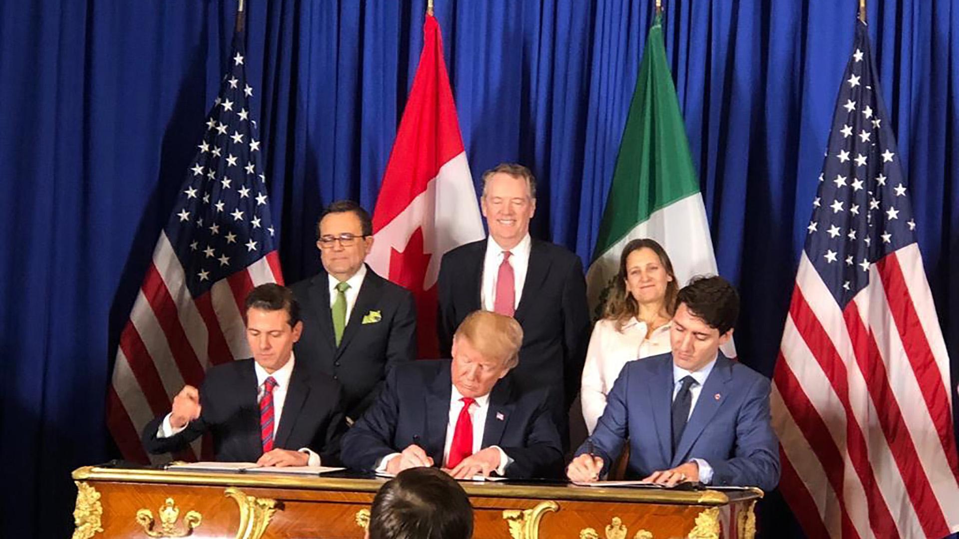 Estados Unidos, México y Canadá firmaron su nuevo acuerdo de libre comercio conocido como T-MEC(Télam)