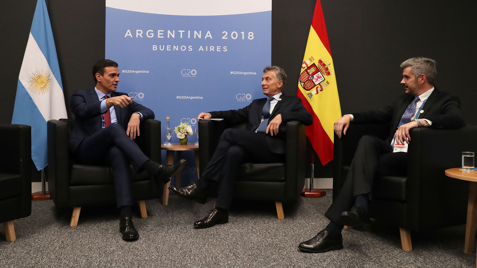 Sánchez, Macri y Marcos Peña