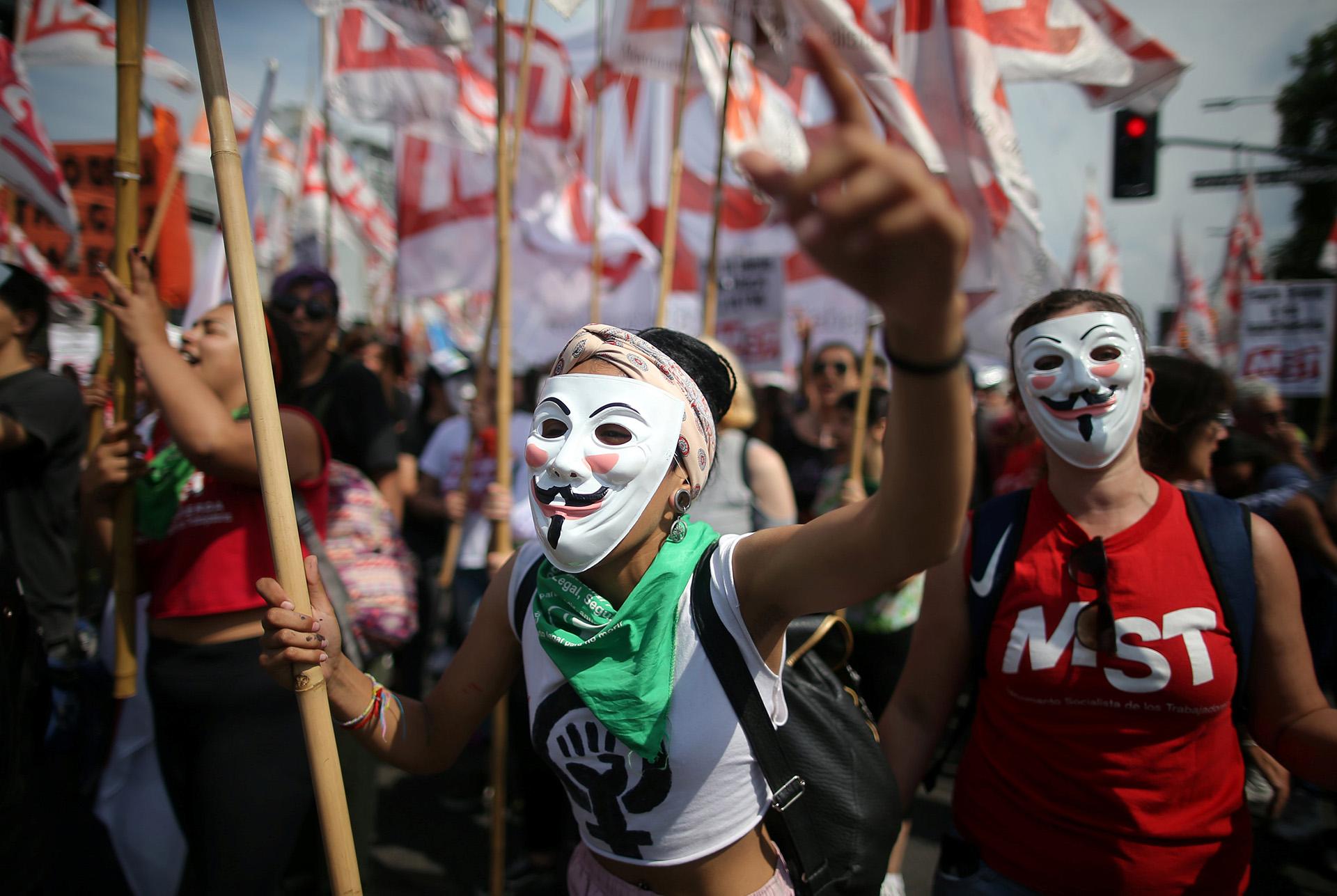 Manifestación en la avenida 9 de Julio