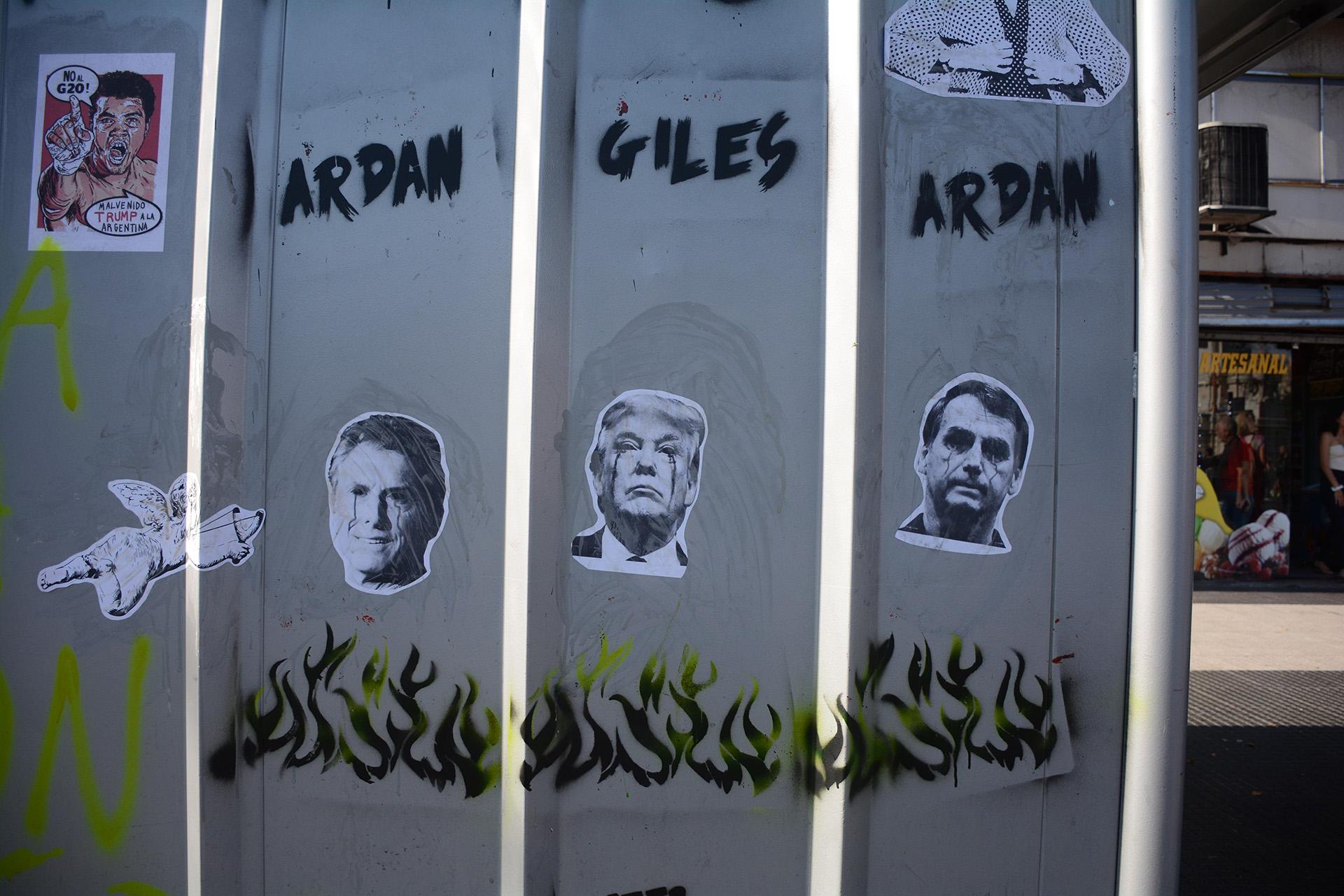 Los presidentes de Argentina, Estados Unidos y Brasil fueron los principales apuntados de la manifestación