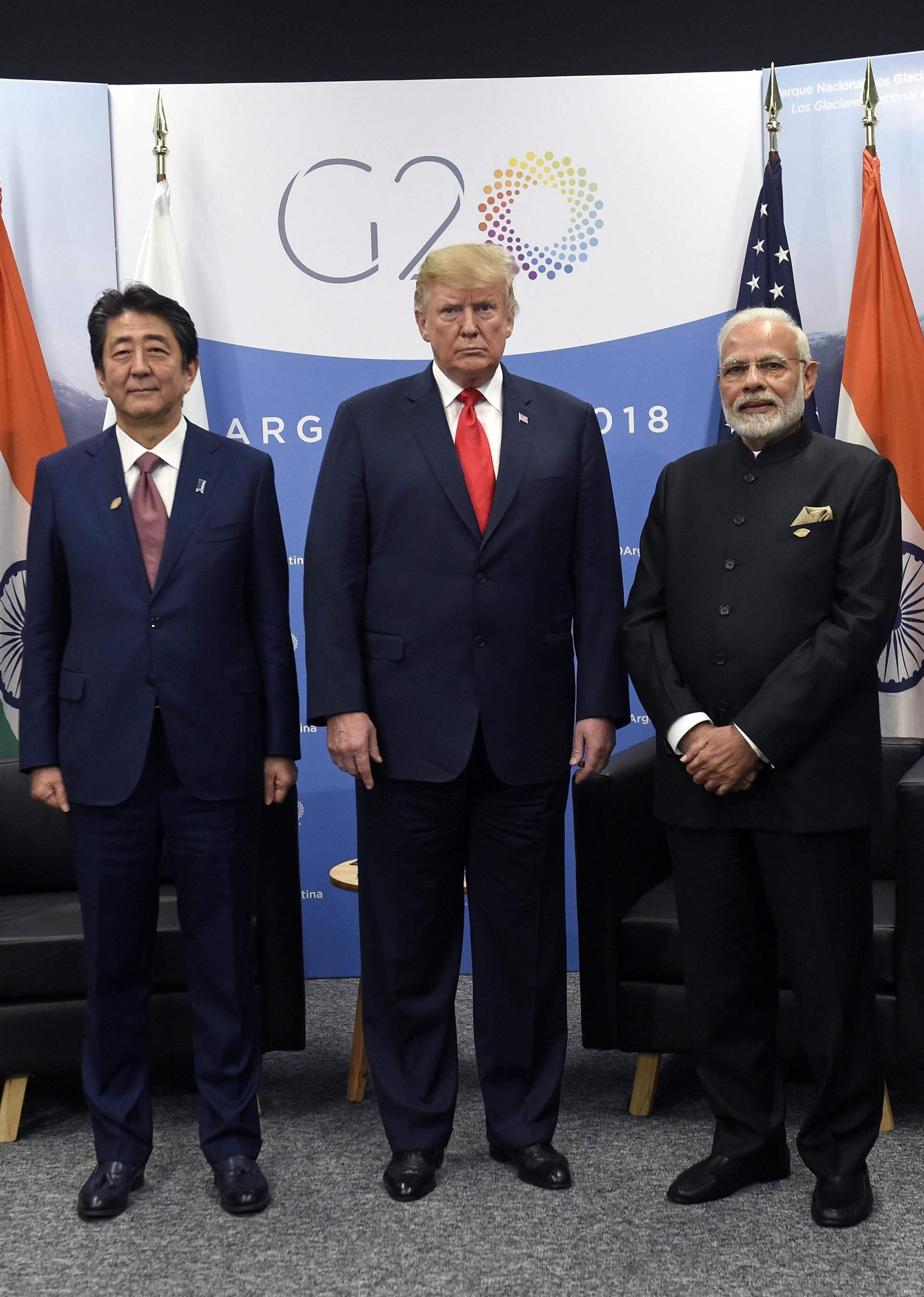 Shinzo Abe, Donald Trump y Narendra Modi