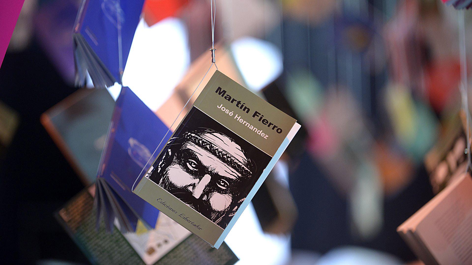 Martín Fierro, uno de los clásicos de la literatura argentina, cuelga de una tanza junto otras libros para leer de manera recreativa