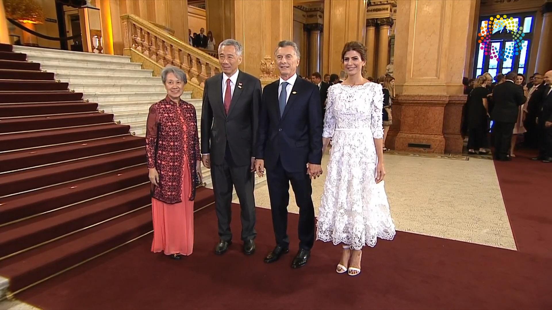 Macri y Awada junto al primer ministro de Singapur Le Kuan Yew y su esposa Ho Ching