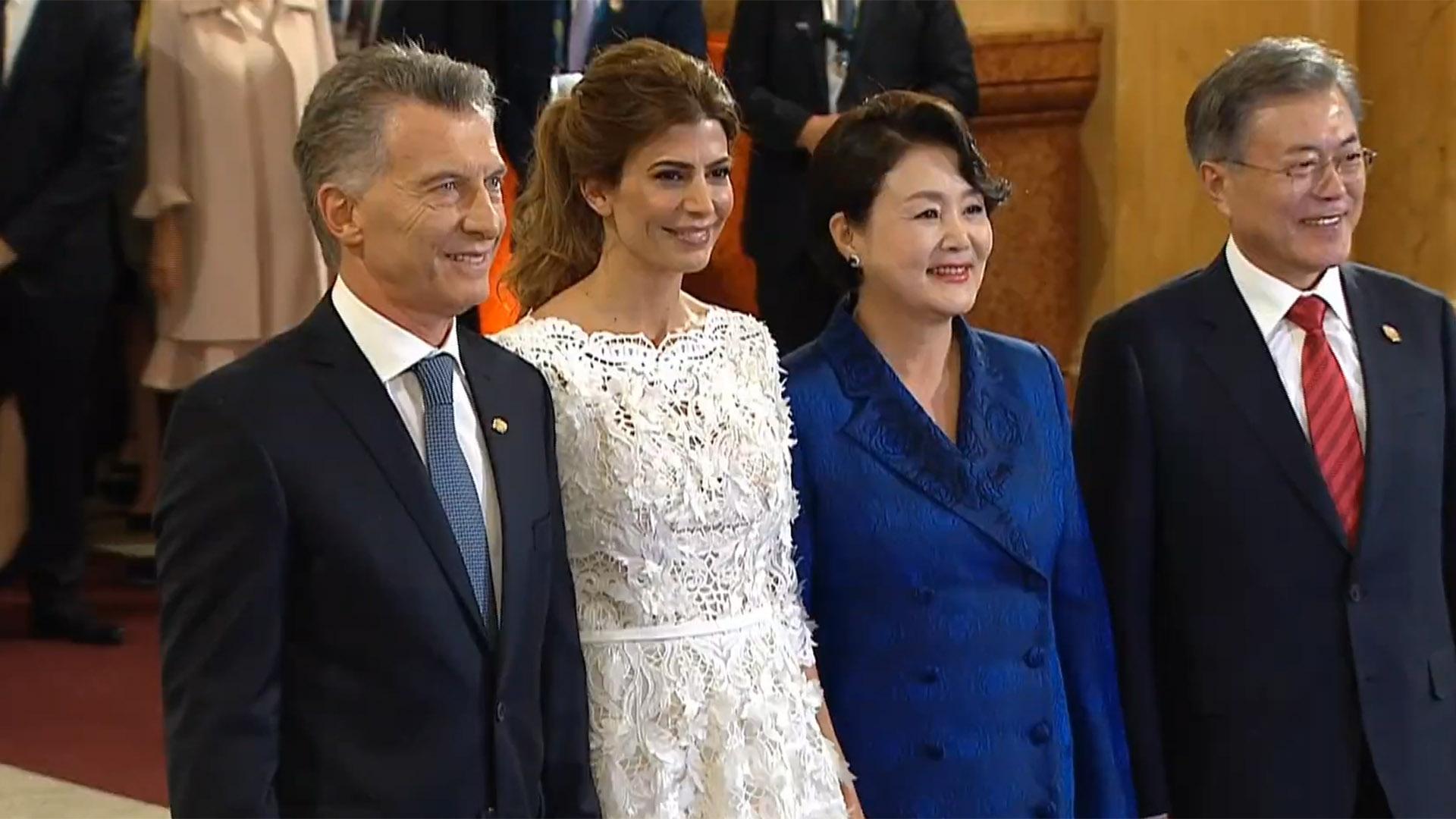Macri y Awada junto a el presidente de Corea del Sur Moon Jae-in y su esposa Kim Jung-sook