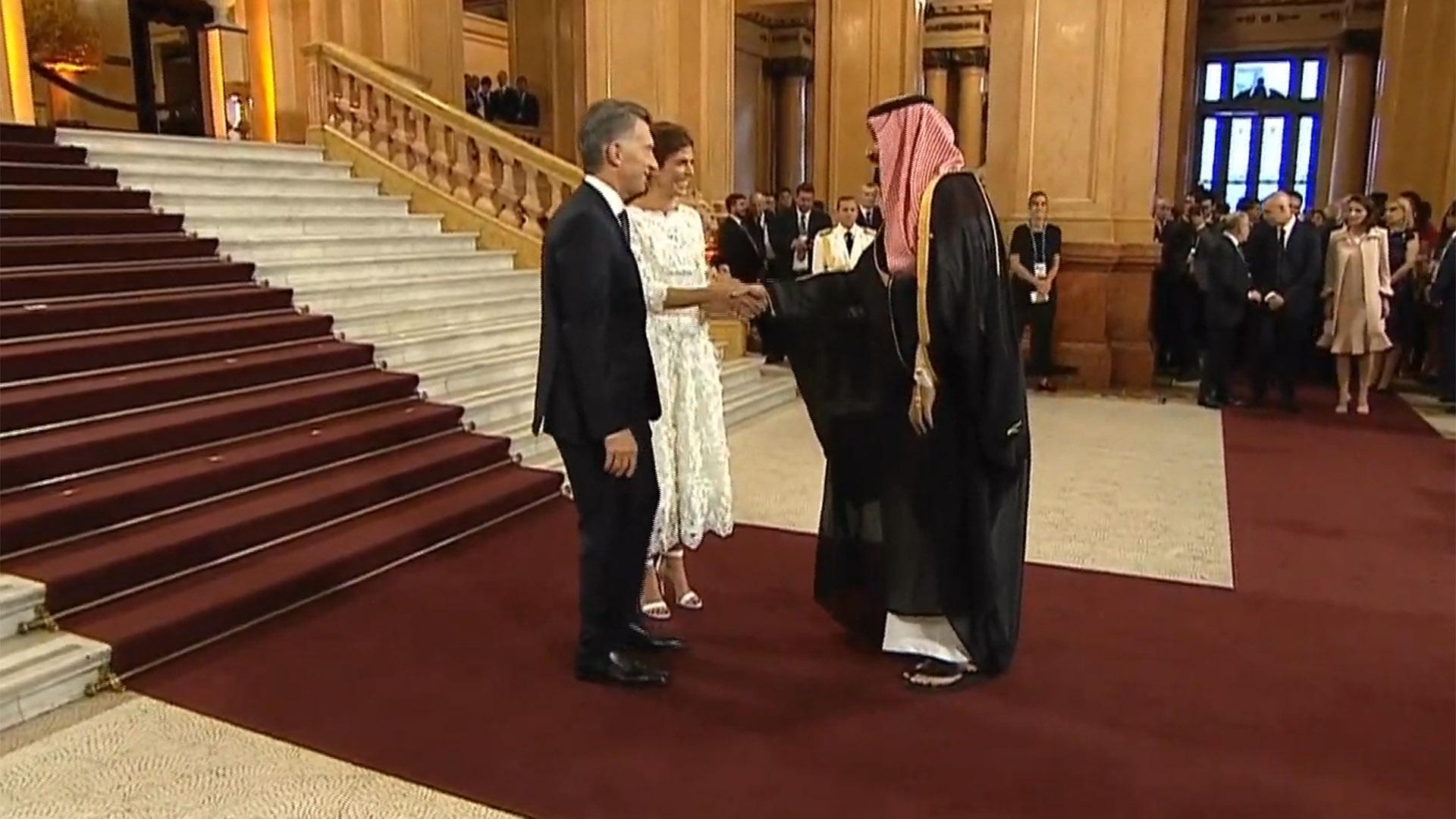 Macri y Awada con Mohammed bin Salman