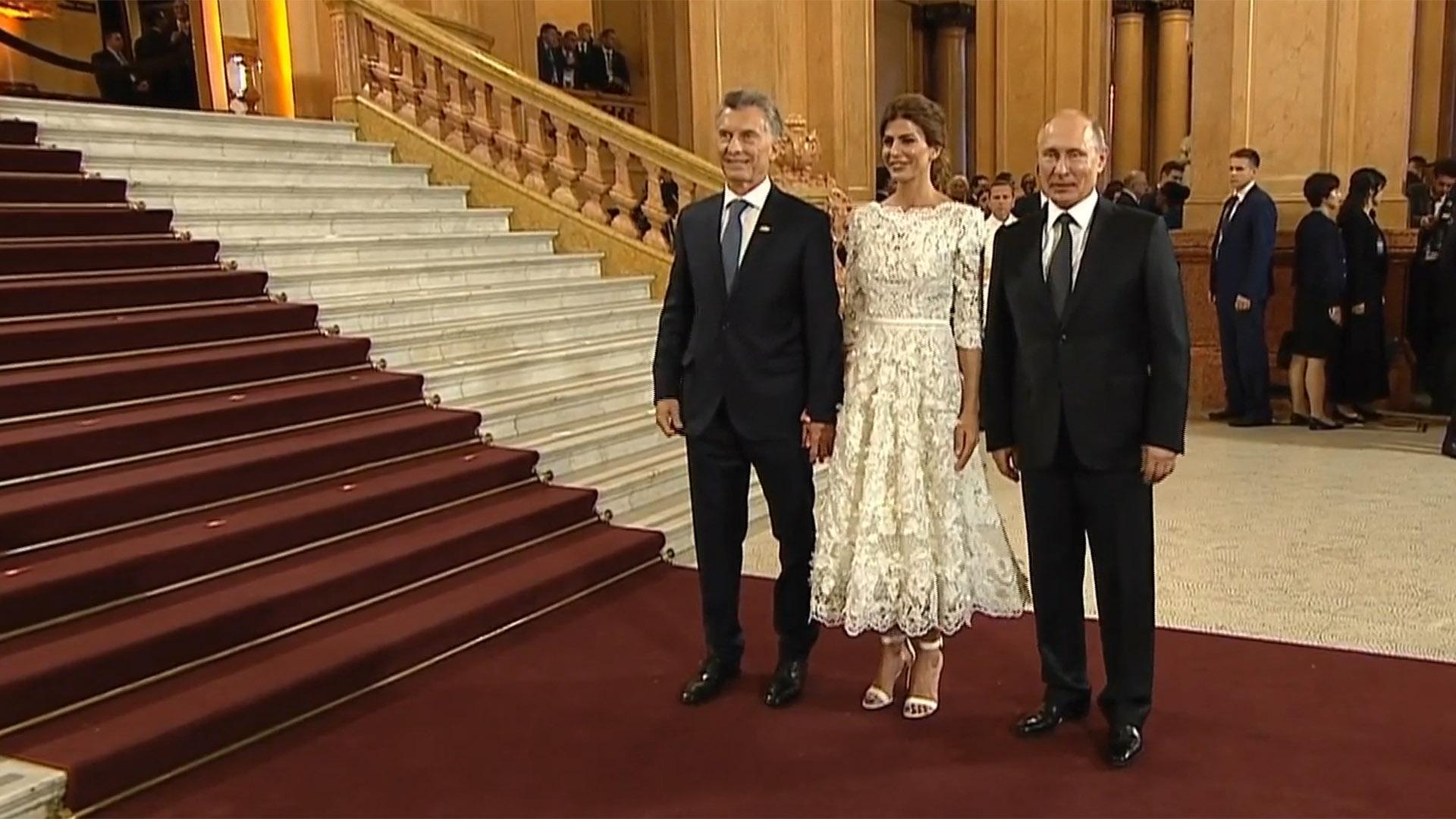 Macri y Awada con Vladimir Putin