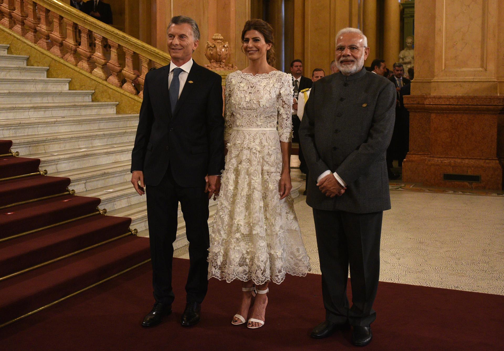 Mauricio Macri y Juliana Awada junto al Primer Ministro indio, Narendra Modi