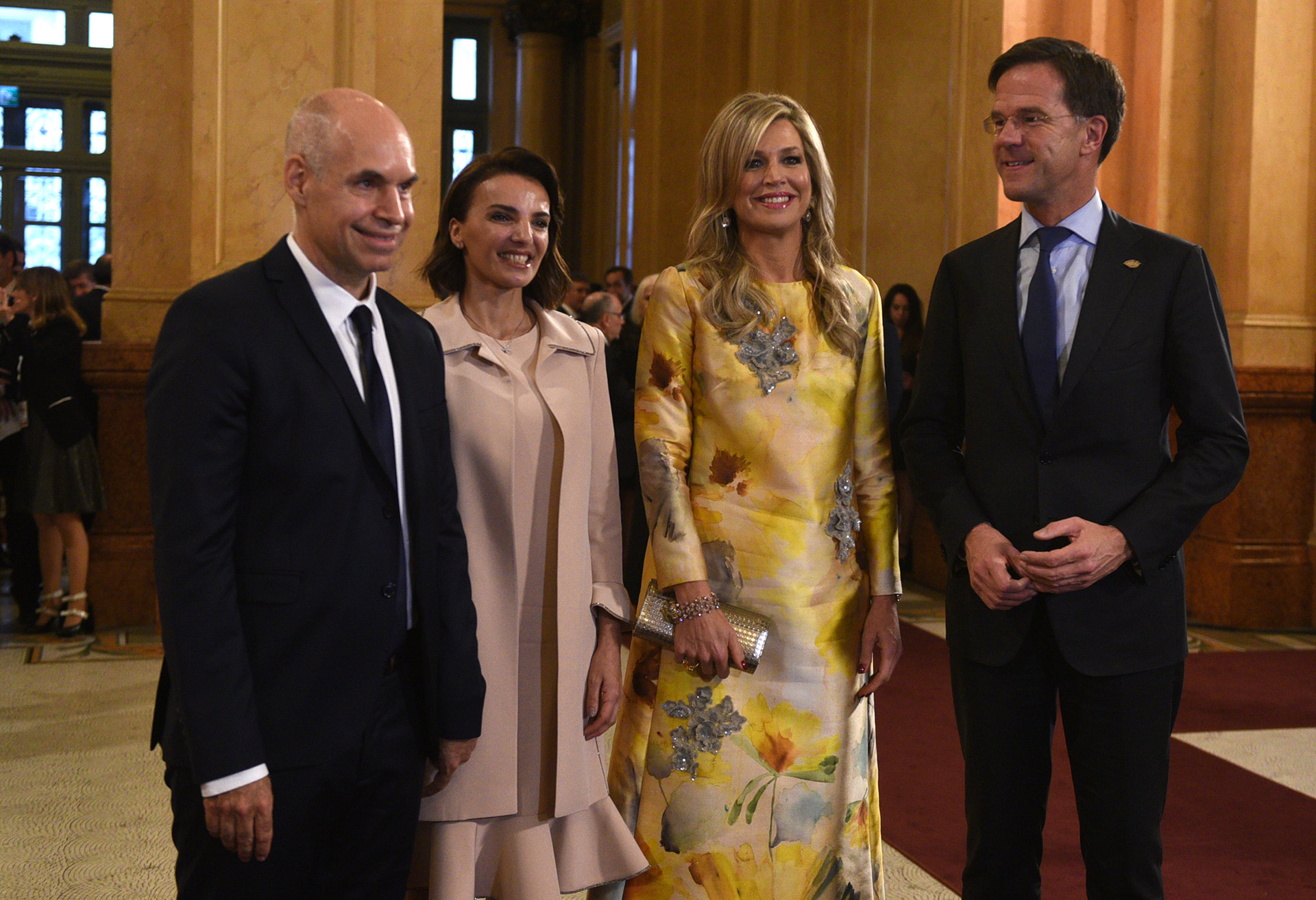 Rodríguez Larreta y Diez junto a la reina Máxima y el primer ministro de Holanda Mark Rutte