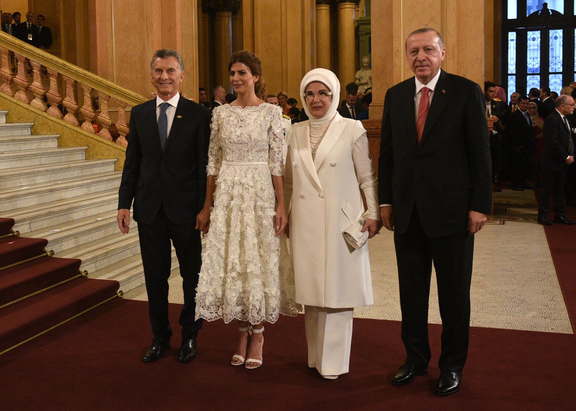 Mauricio Macri y Juliana Awada junto al presidente turco, Tayyip Erdogan, y su mujer Emine