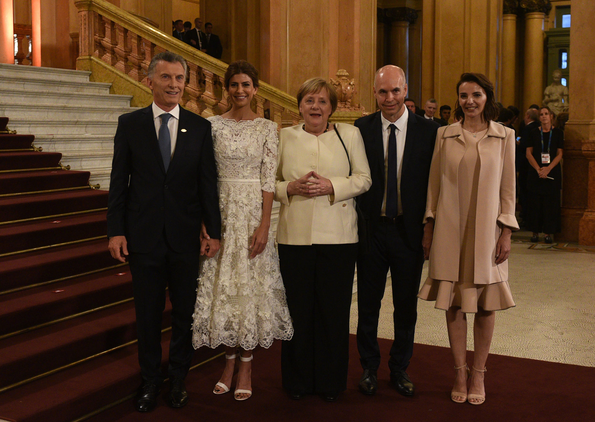 Mauricio Macri, Juliana Awada, la canciller alemana Angela Merkel; Horacio Rodríguez Larreta y Bárbara Diez