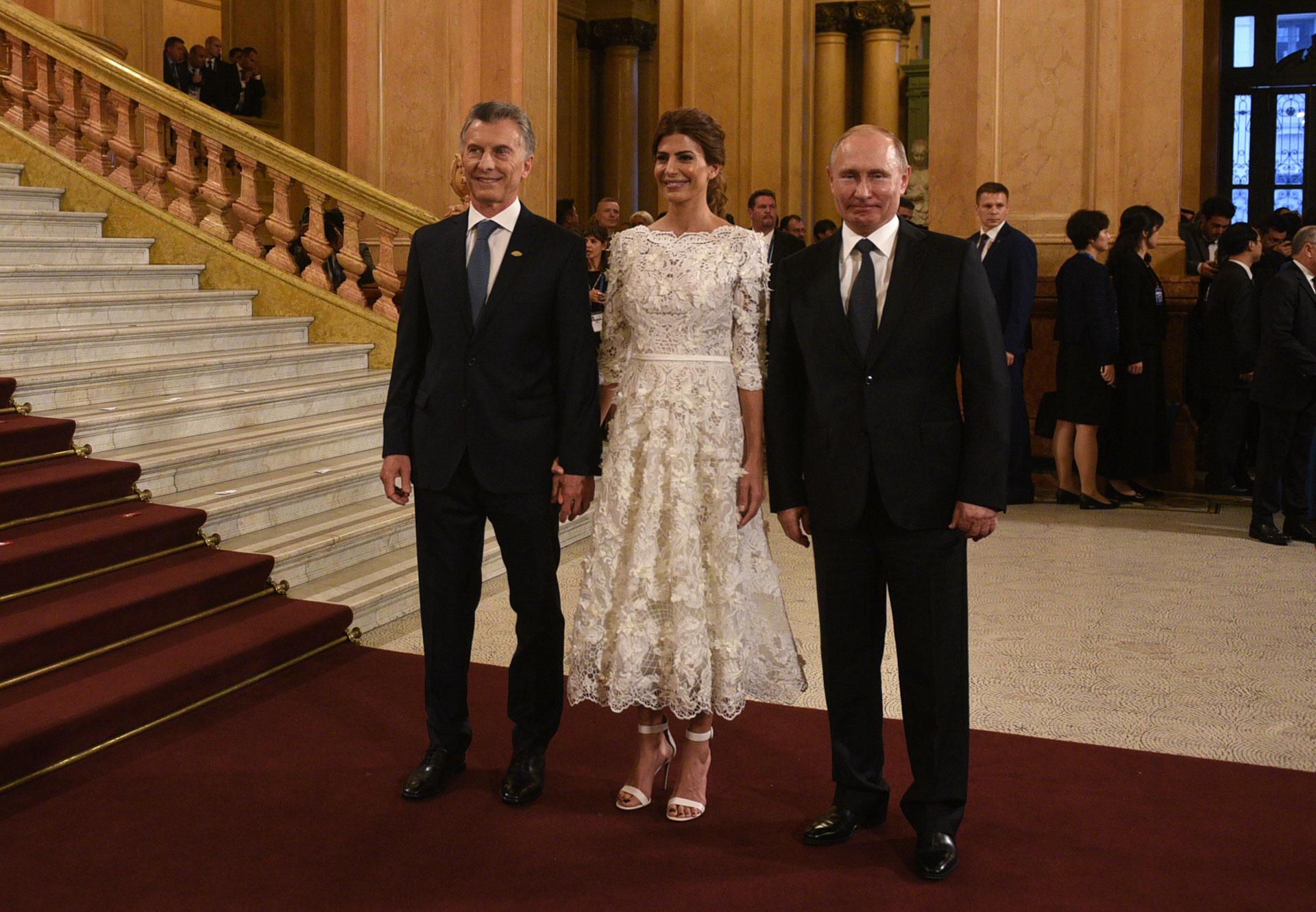 Mauricio Macri y Juliana Awada recibieron ayer al presidente de Rusia, Vladimir Putin