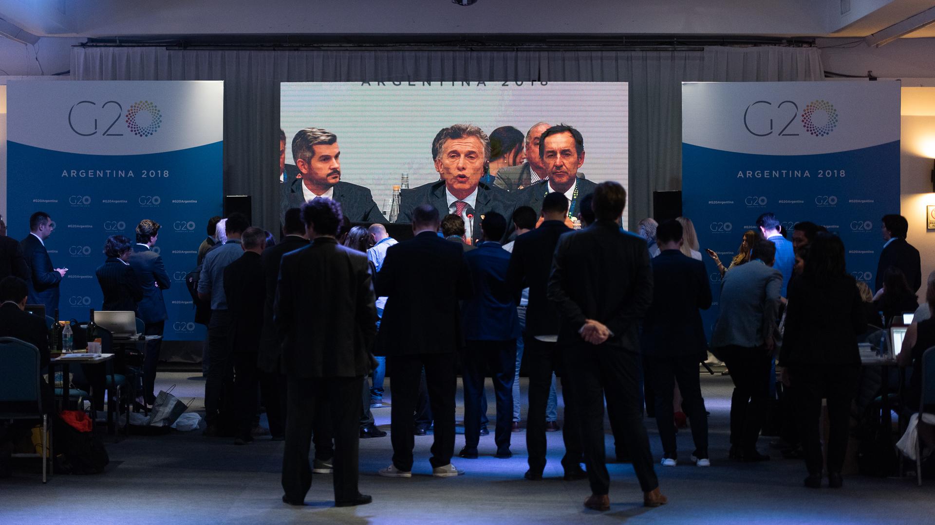 El presidente Mauricio Macri en una de las pantallas del centro de prensa