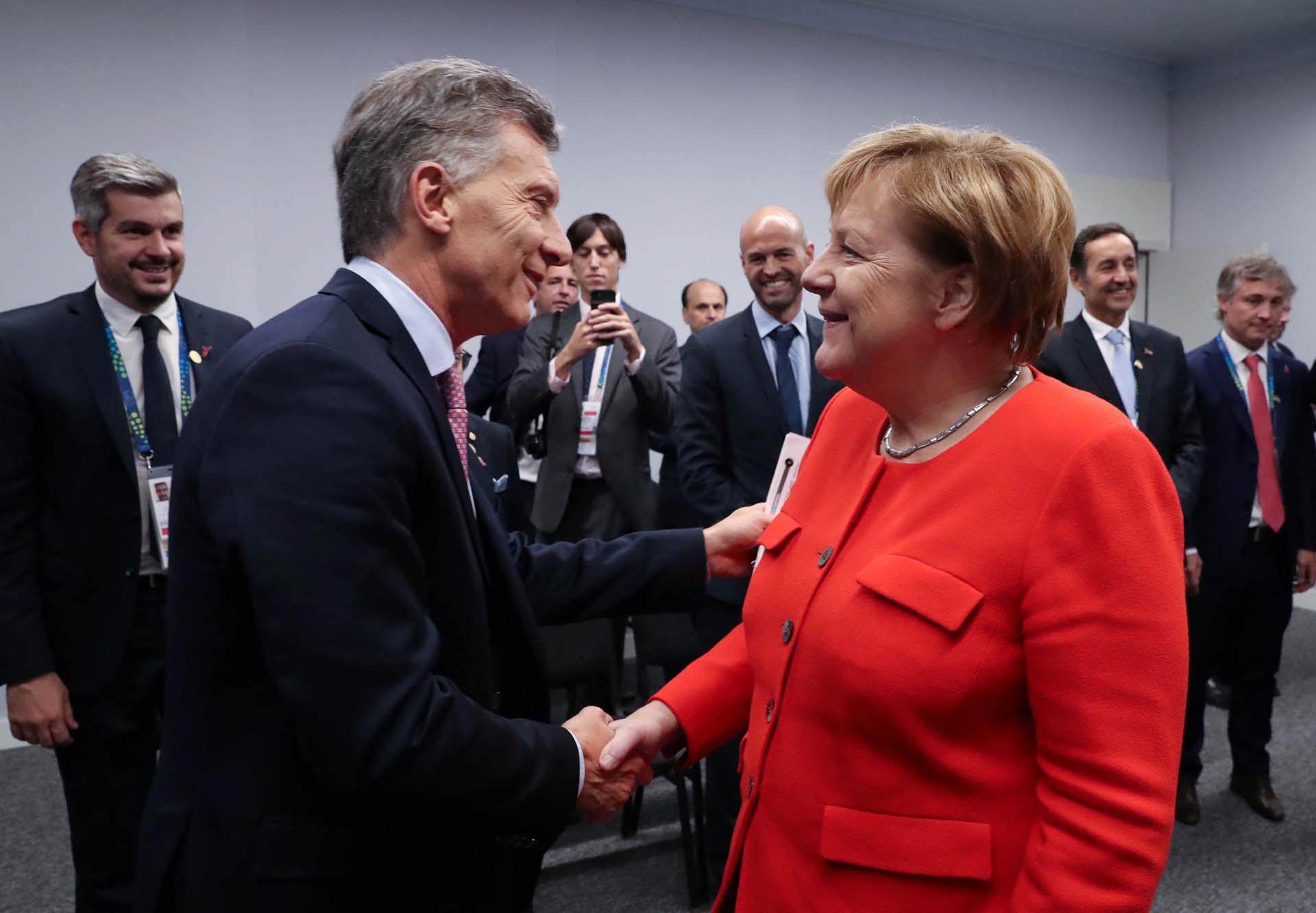 Mauricio Macricon la canciller alemanaAngela Merkel