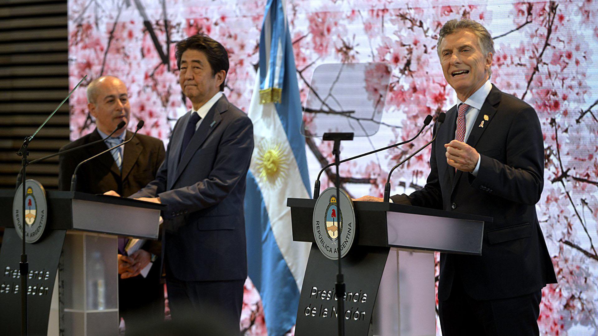 Abe y Macri en la conferencia de prensa