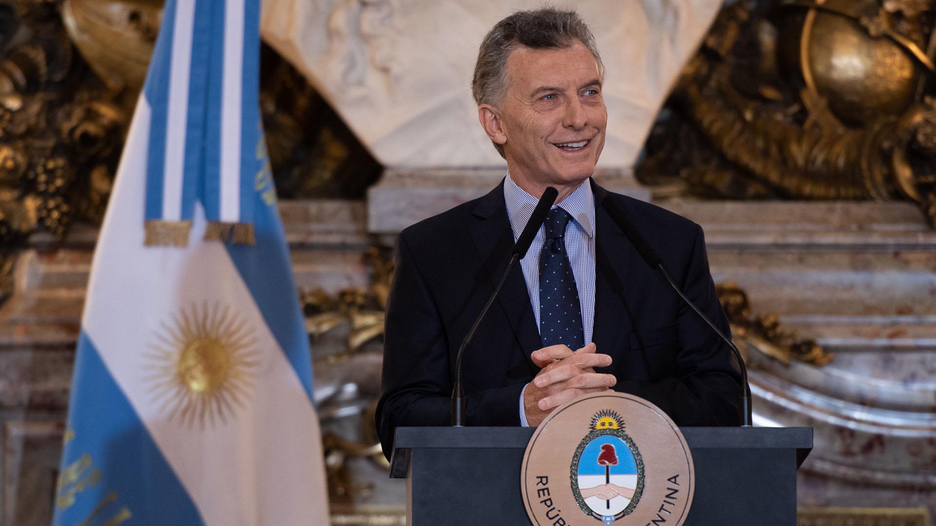 El presidente Mauricio Macri, sonriente este lunes en conferencia de prensa (Adrian Escandar)