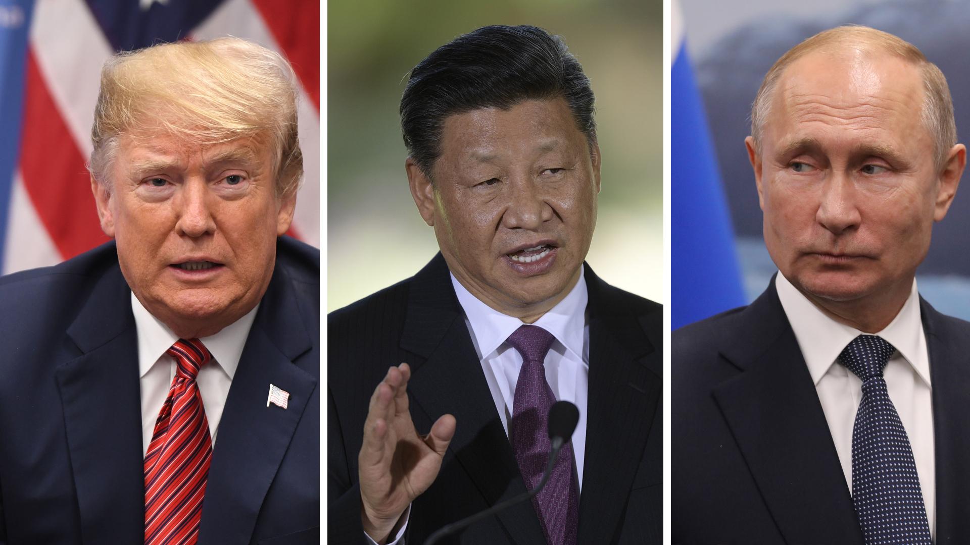 Donald Trump, presidente de los EEUU; Xi Jinping, de China, y Vladimir Putin, de Rusia.