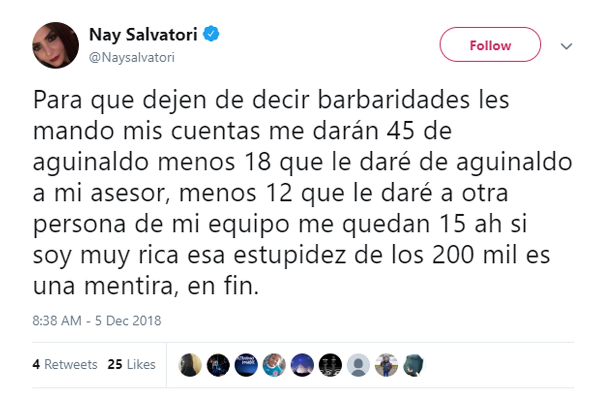 """Explicación de Nay Salvaotori, diputada que impulsa el """"pollotón"""" (Foto: Twitter)"""