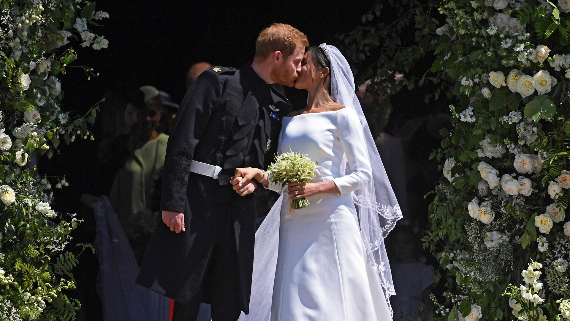 Meghan Markle y Harry en su casamiento en mayo pasado (Foto: EFE)