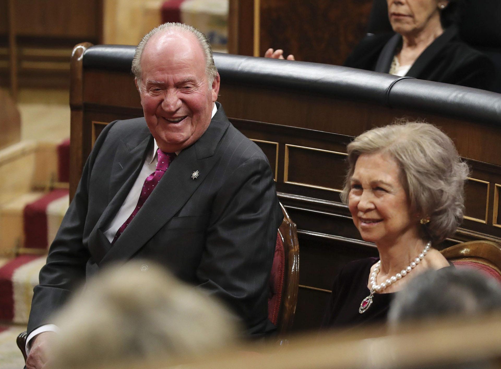 Los reyes eméritos Juan Carlos y Sofía, durante el acto que fue presidido por su hijo, el rey Felipe