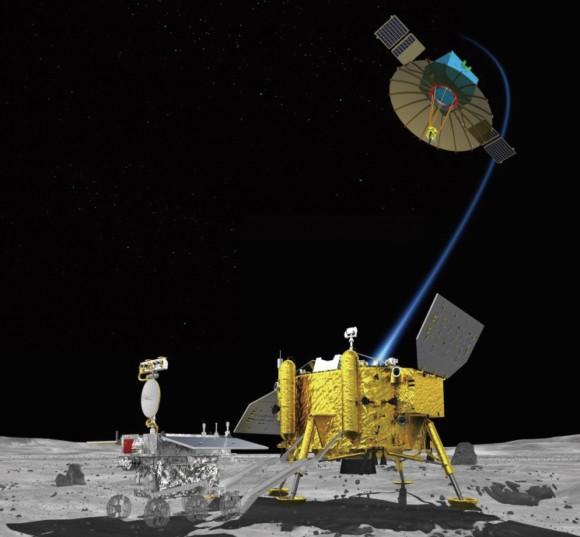 La sonda lunar Chang'e 4 y el satélite que usará para las comunicaciones con la Tierra (chinaspaeceflight.com).