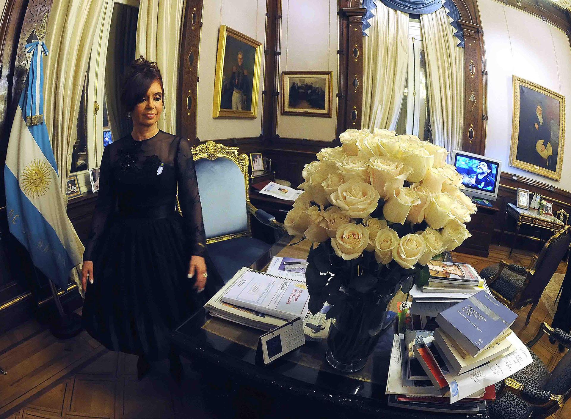 Cristina Kirchner en el despacho de la Casa Rosada