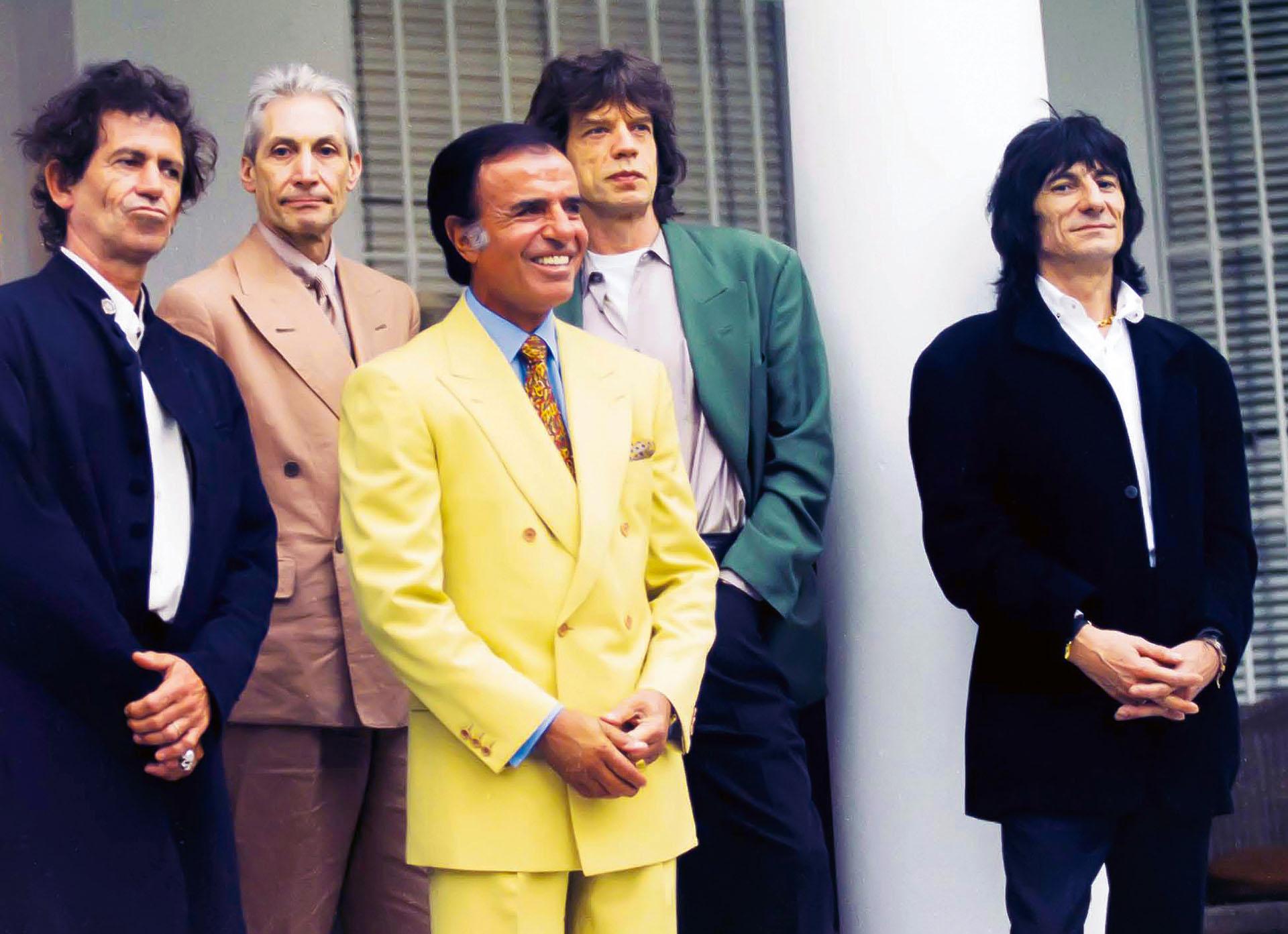Menem recibe a los Rolling Stones en Olivos