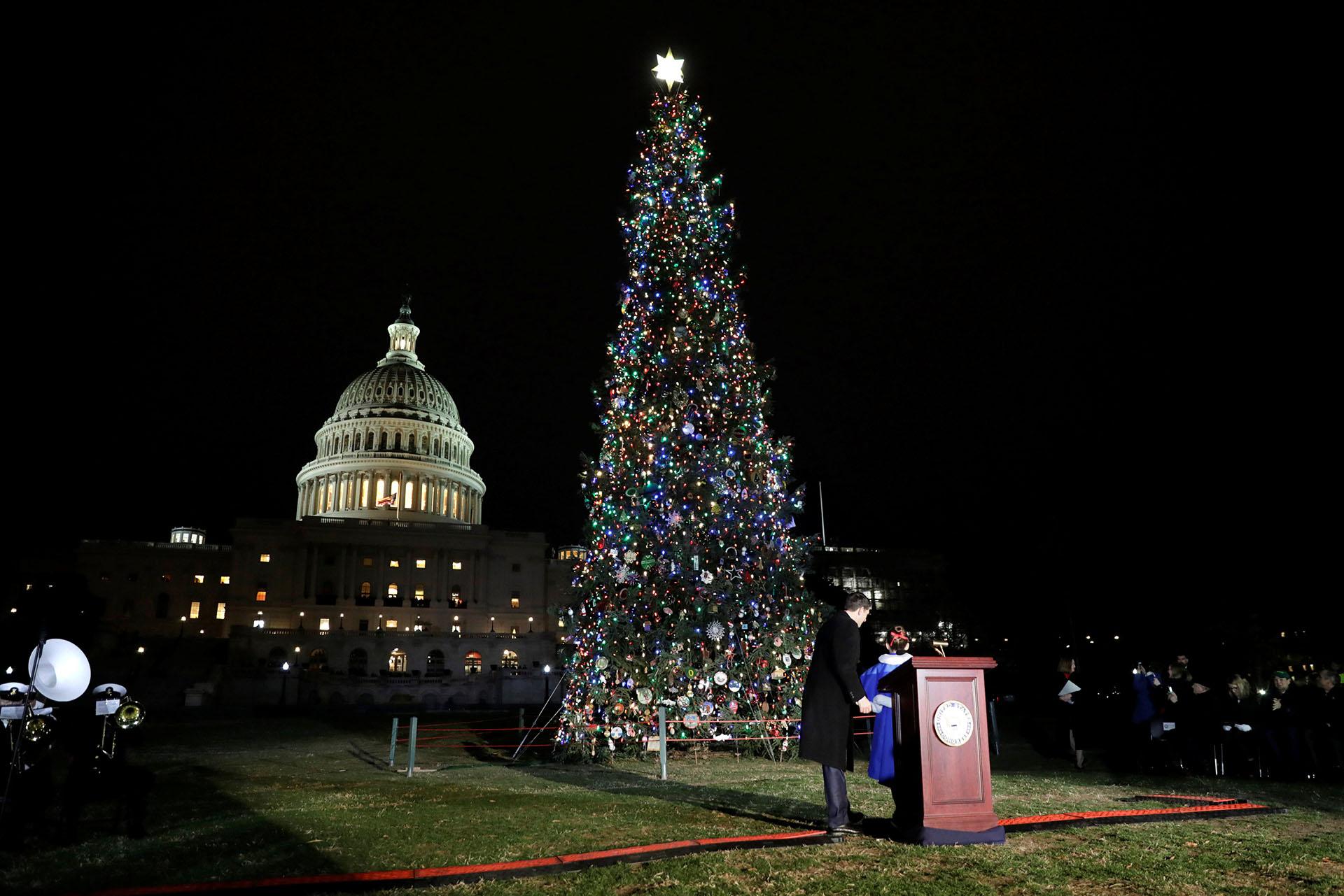El árbol de Navidad en los jardines frente al capitolio en Washington