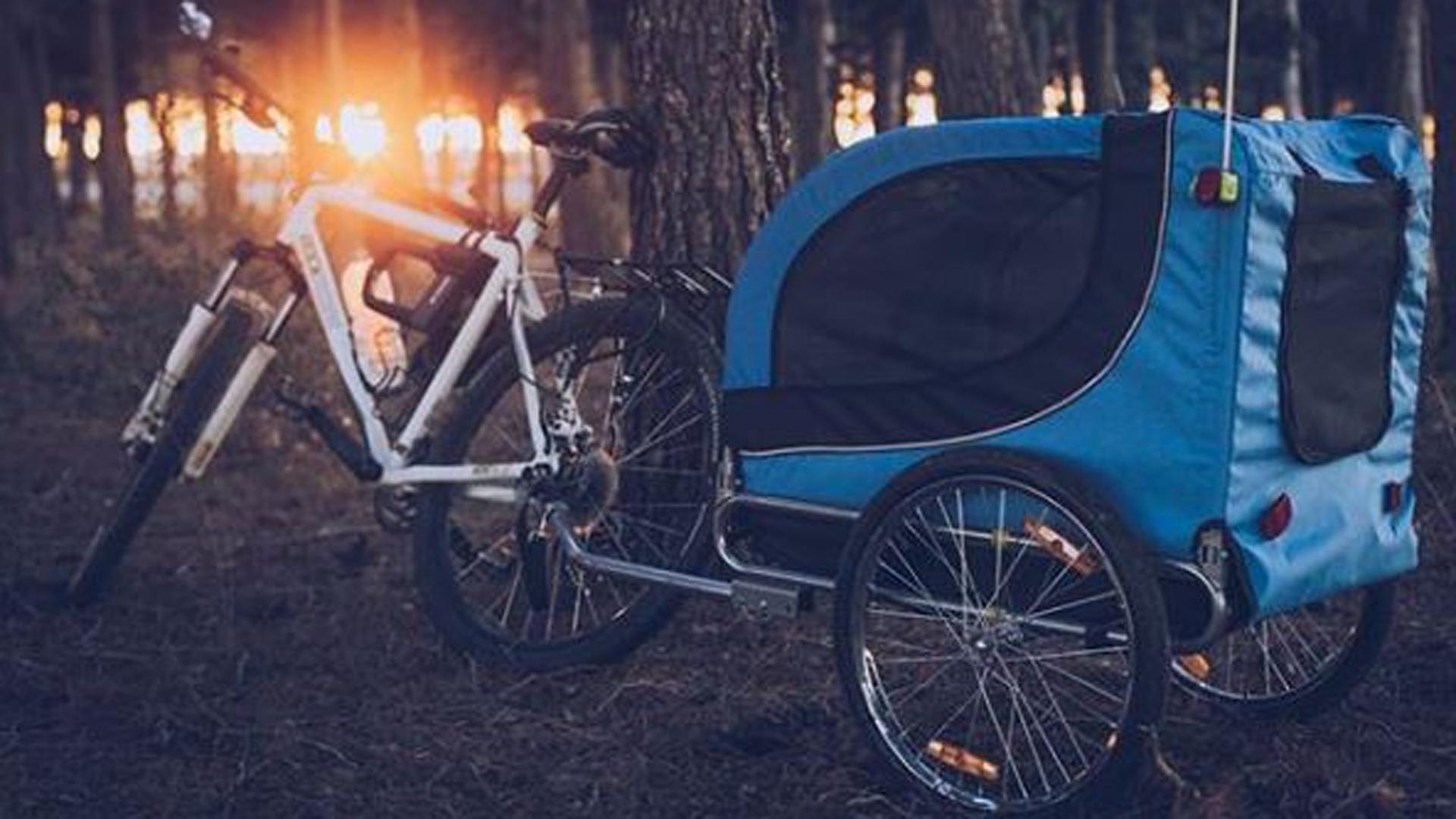 Agustín se compró la bici y luego el carrito en donde viaja Vito