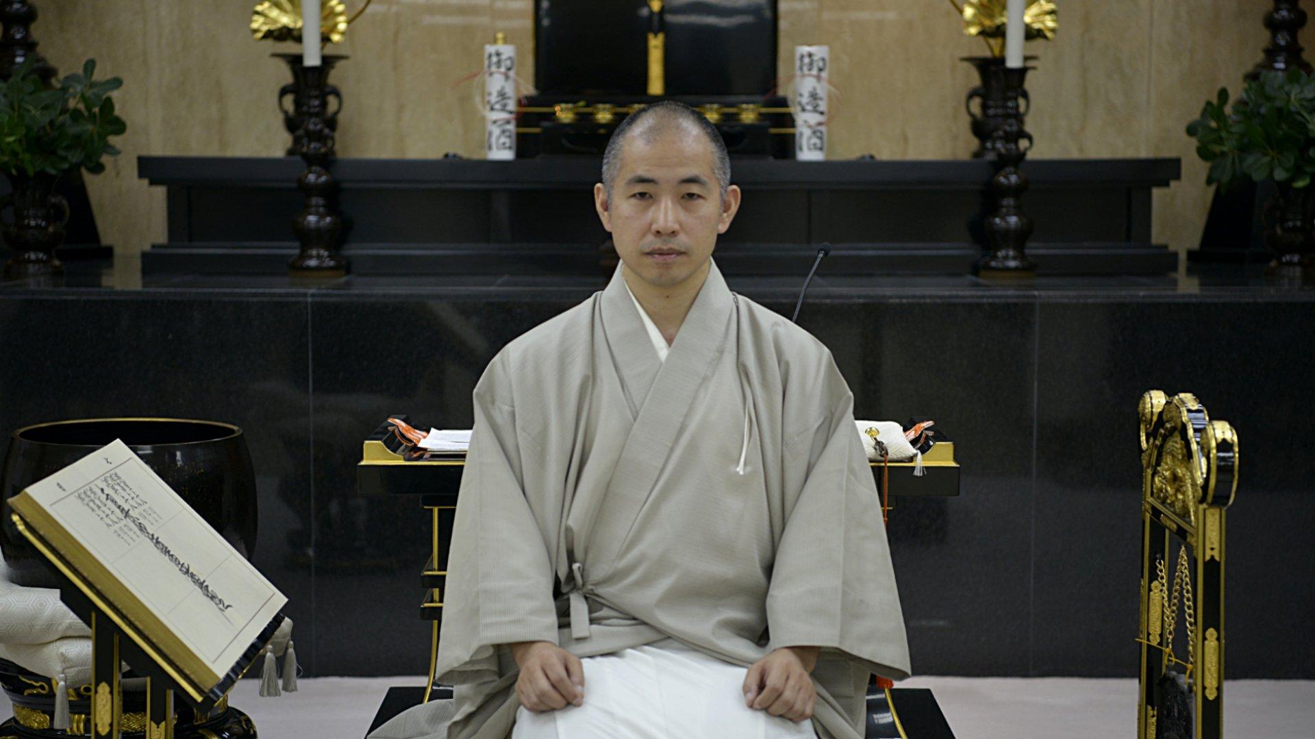 El monje budista Rokyu Nakayama en su templo de Buenos Aires (Gustavo Gavotti)