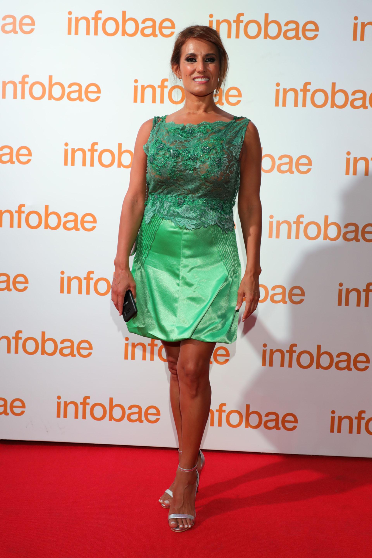 Nancy Duré lució un vestido verde esmeralda con bordados de piedras by Patricia Profumo