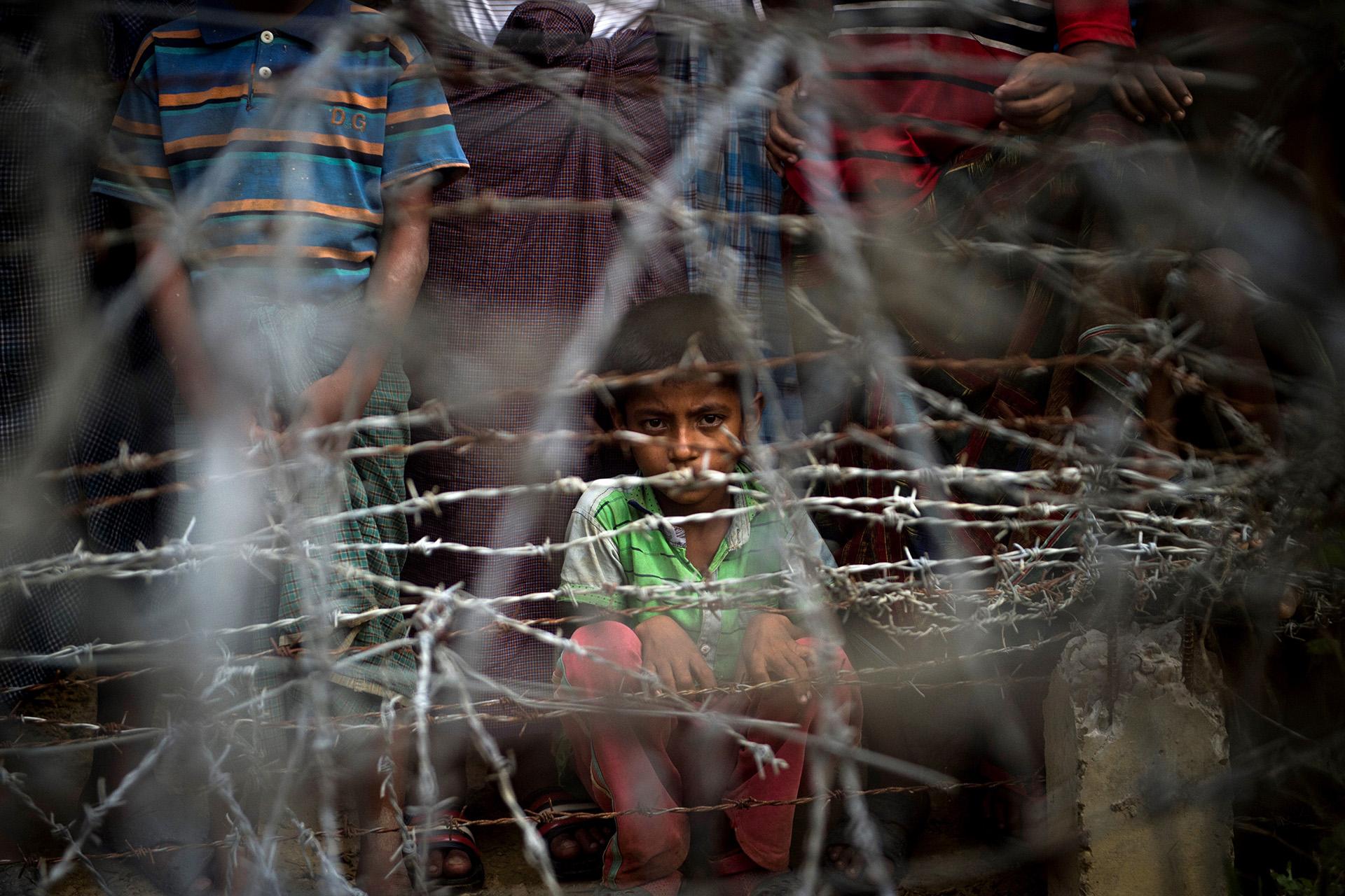 Niños en un campo de refugiados Rohingyas en la frontera de Birmania conBangladesh el 25 de abril (Ye Aung THU / AFP)