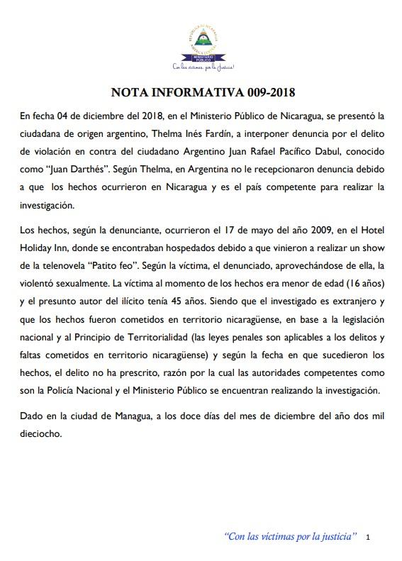 La nota de prensa de la fiscalía de Nicaragua