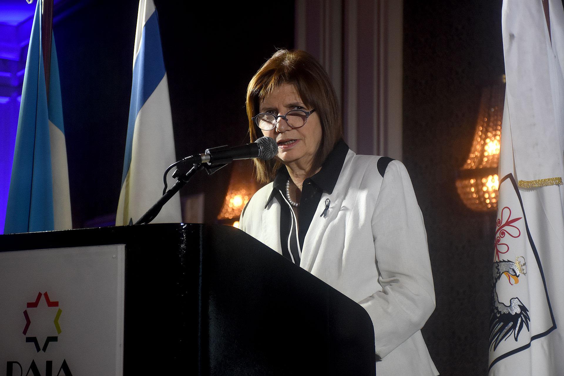 El discurso de la ministra de Seguridad, Patricia Bullrich