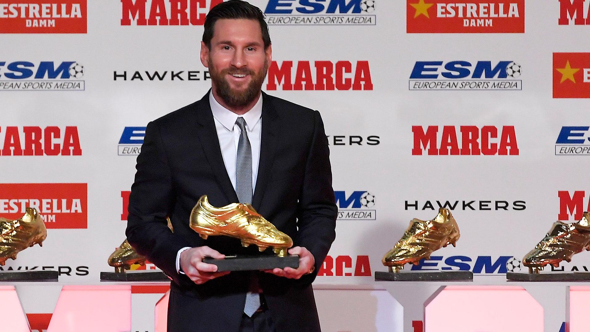 Lionel Messi recibe su quinta bota de Oro como máximo goleador de la temporada en Europa el 18 de diciembre
