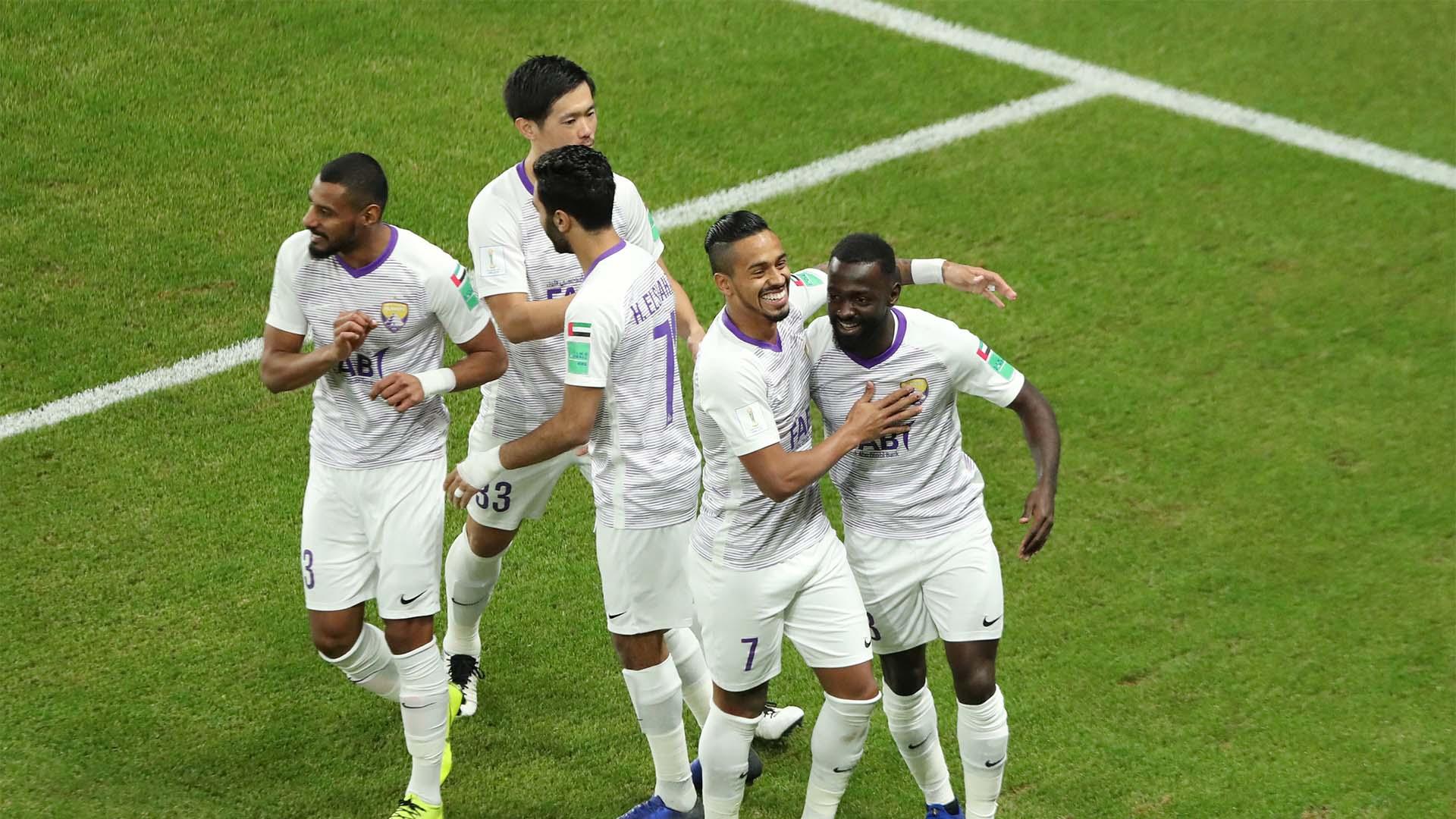 Los festejos de los jugadores locales luego del prematuro gol del Al Ain