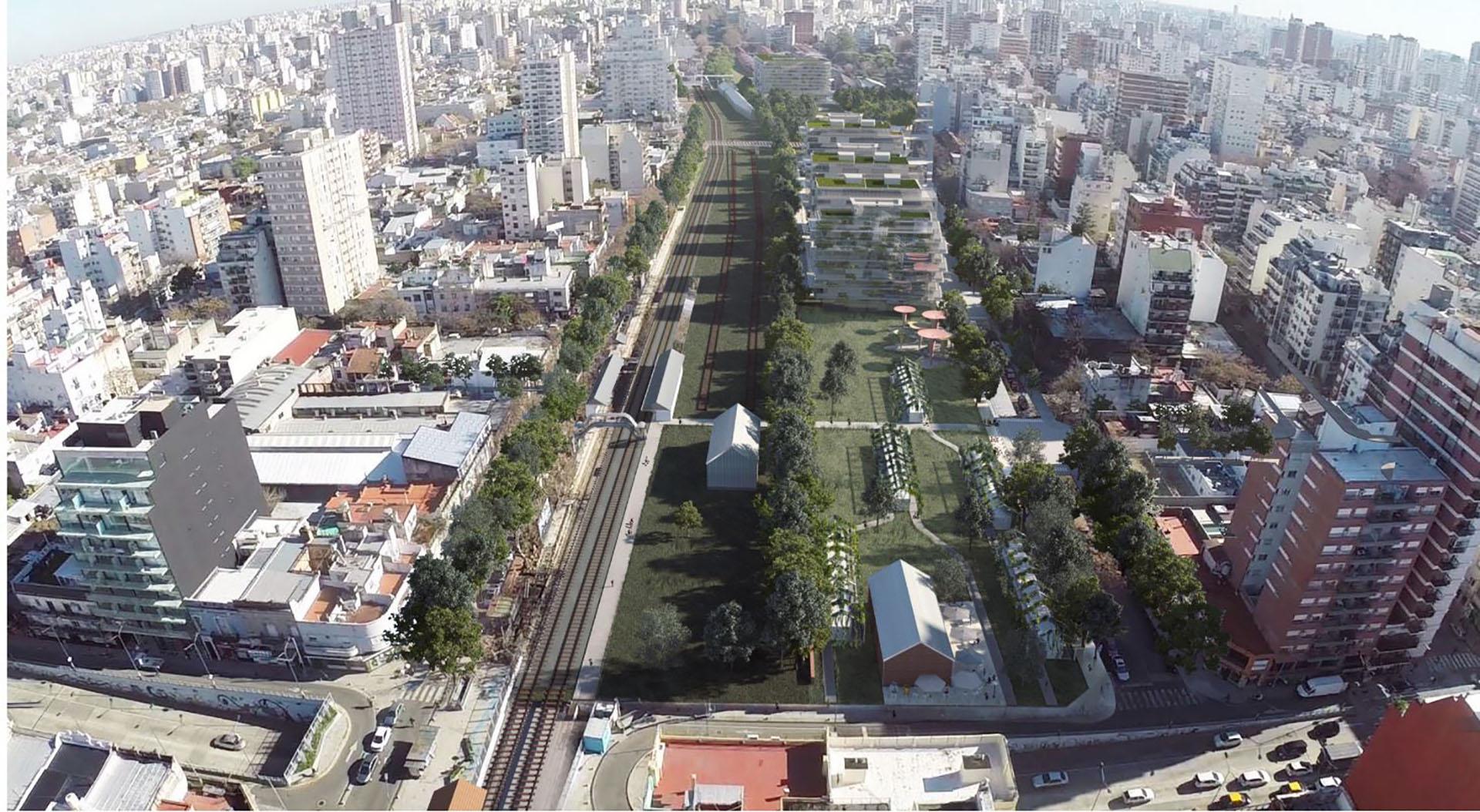 El proyecto urbanístico, con edificios y plazas, diseñado para el playón de la estación Colegiales