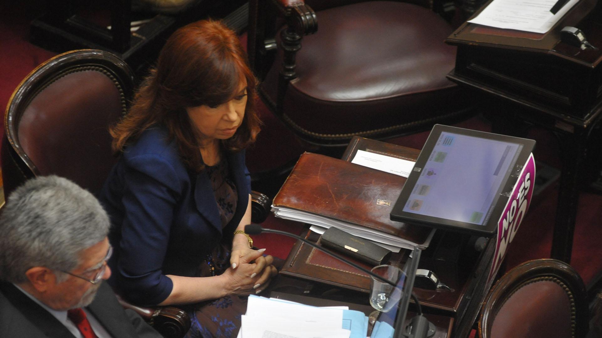 Cristina Kirchner en la última sesión del Senado (Patricio Murphy)