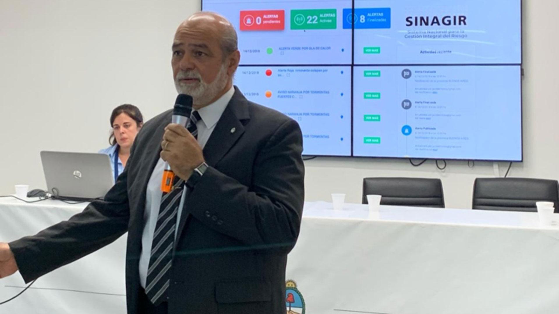 El secretario de Protección Civil, Emilio Renda, durante la presentación de la plataforma digital (Foto: Ministerio de Seguridad)