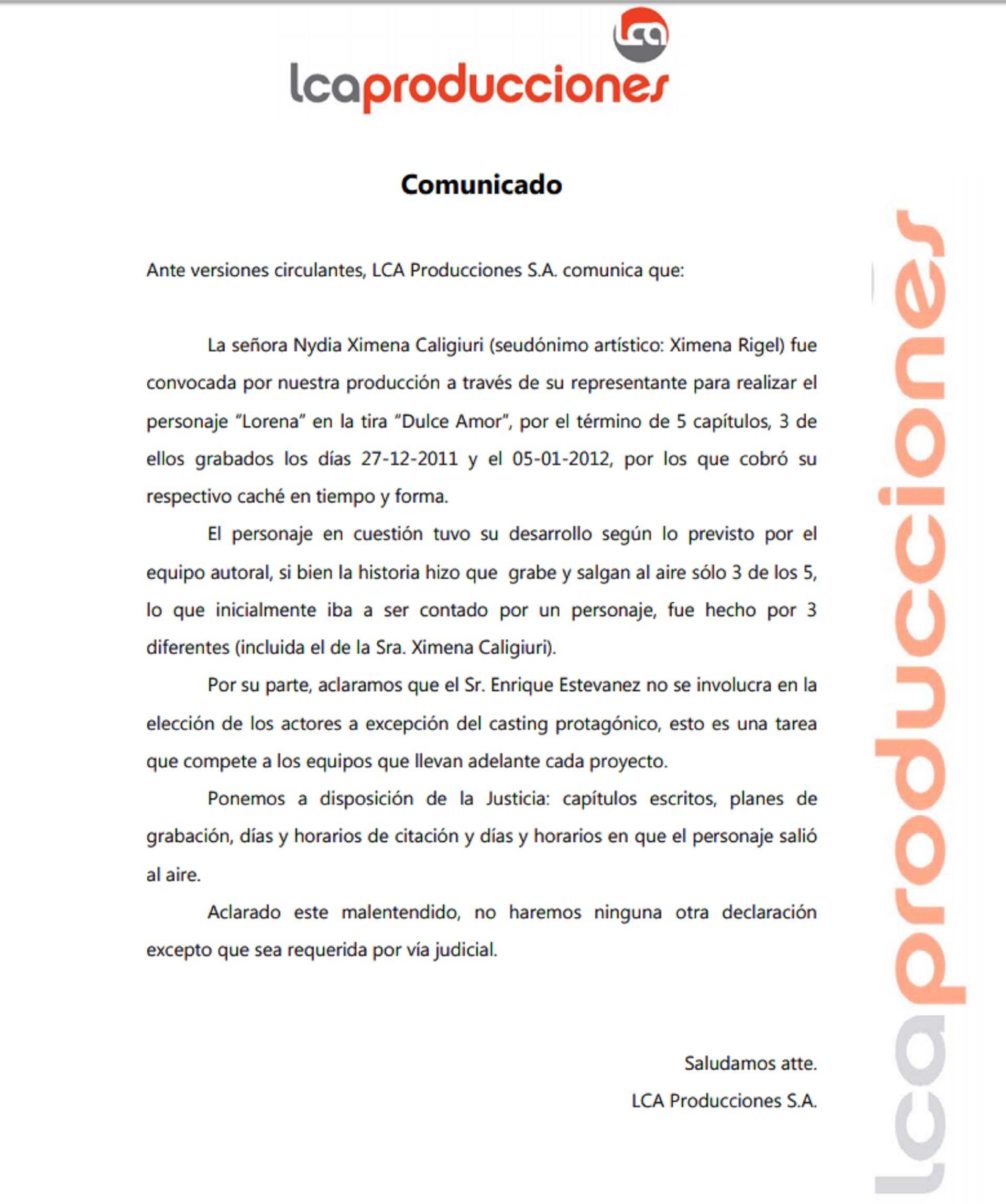 El comunicado de la productora de Quique Estevanez