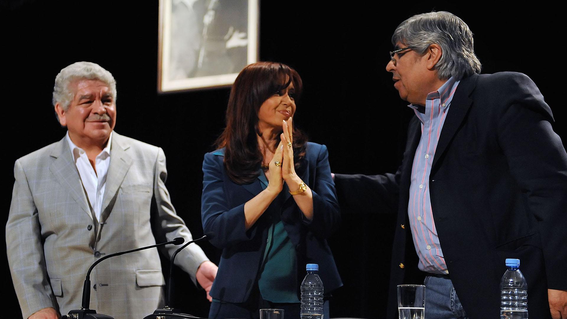 José Pedraza, Cristina Kirchner y Hugo Moyano (NA)